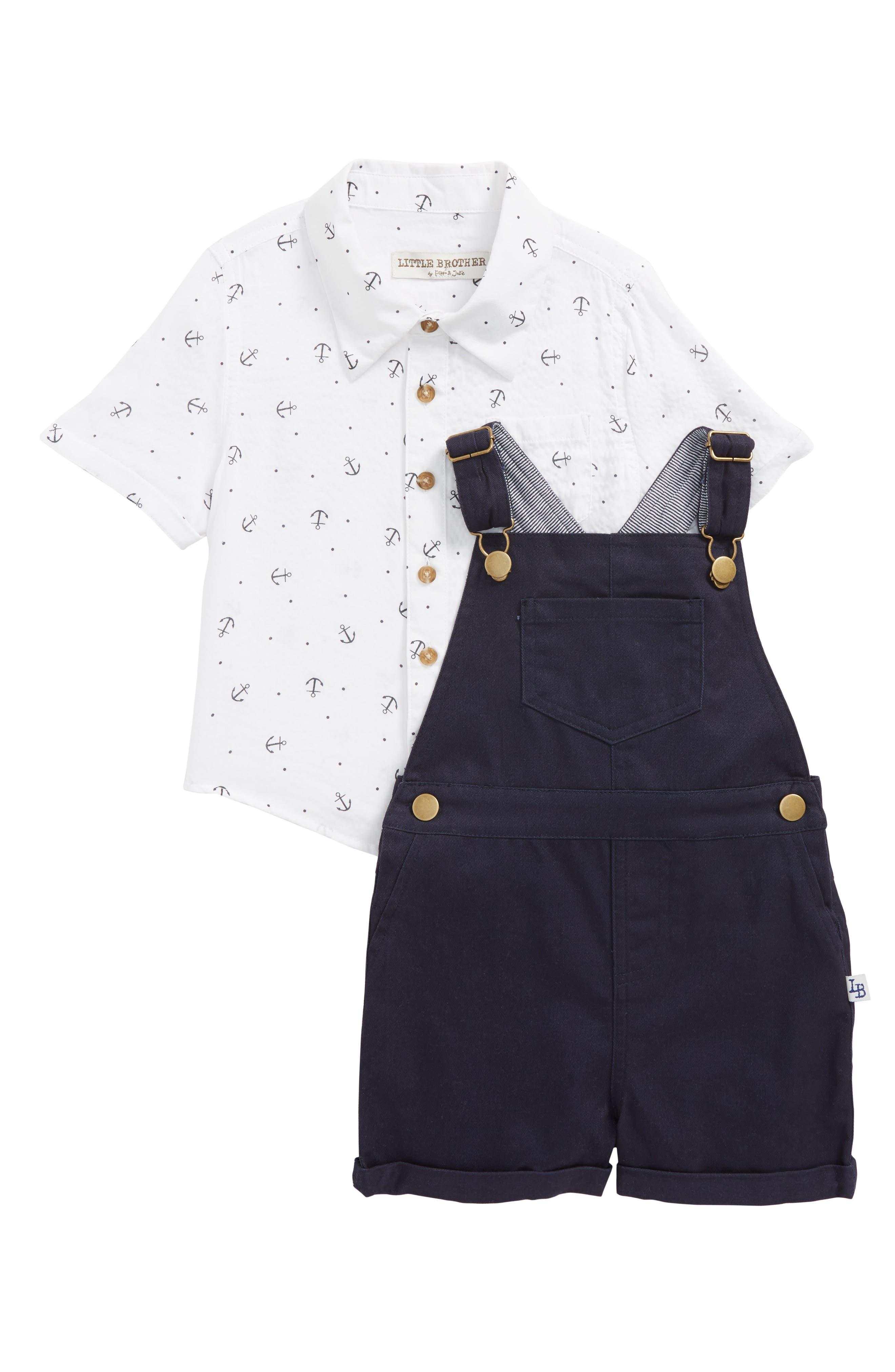 Little Brother by Pippa & Julie Print Shirt & Shortalls Set (Toddler Boys)