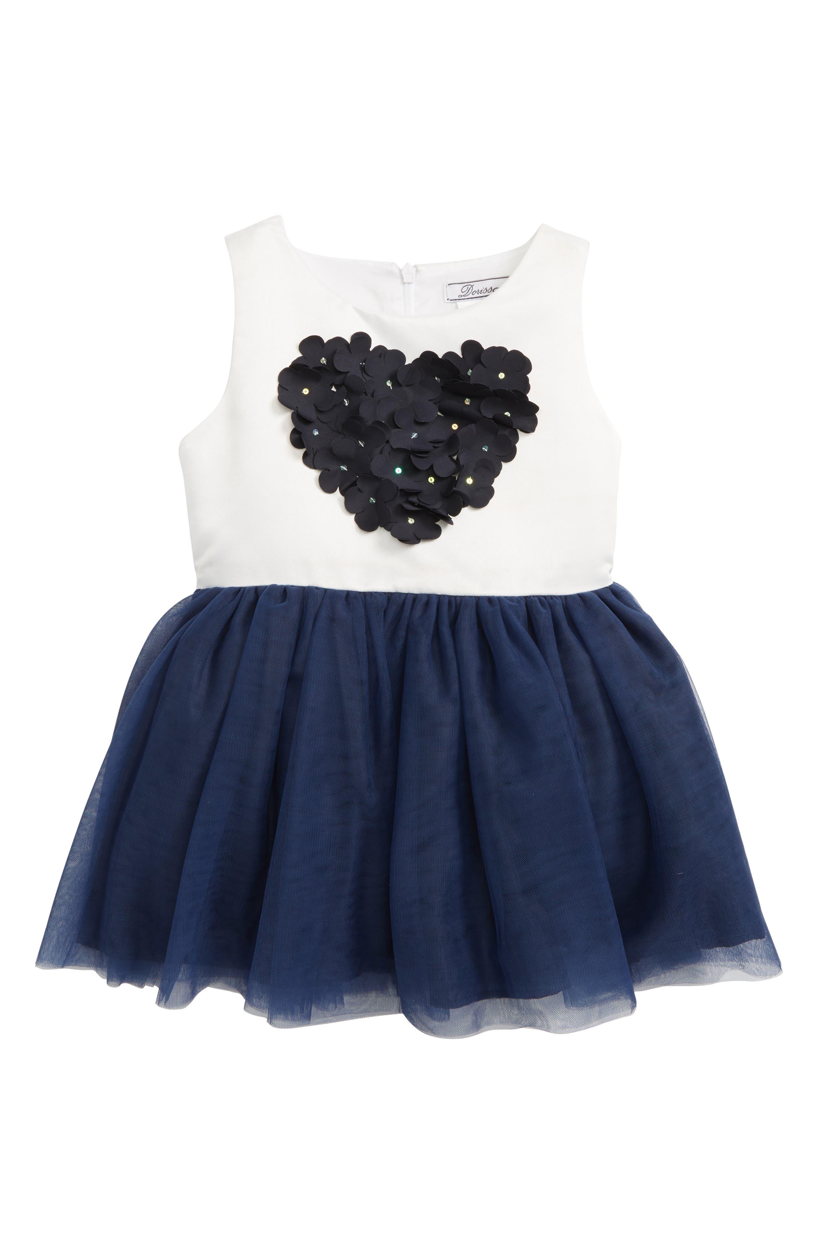 Dorissa Amy Flower Bodice Shantung Party Dress (Baby Girls)