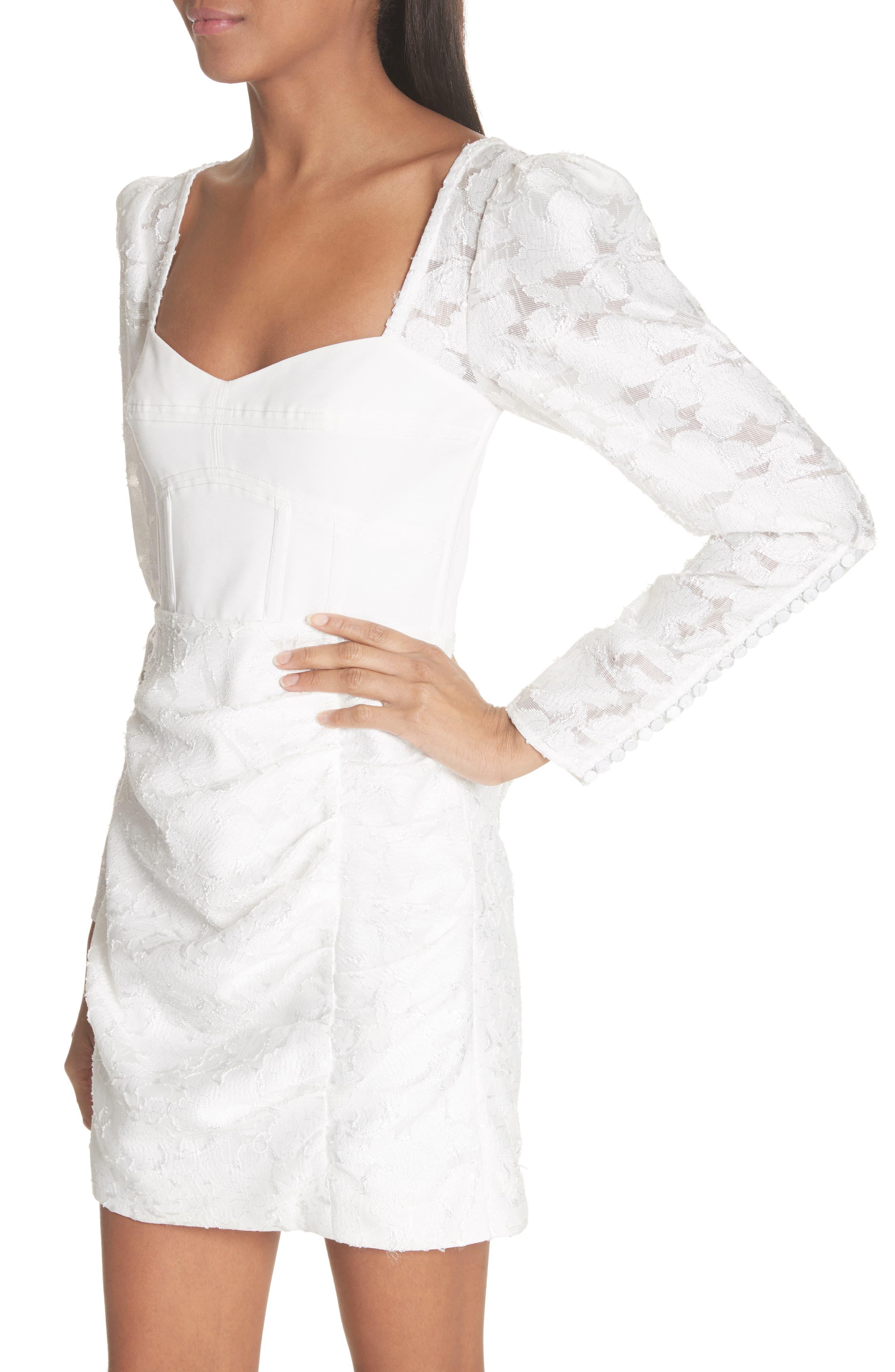 Floral Fil Coupé Bustier Dress,                             Alternate thumbnail 4, color,                             White