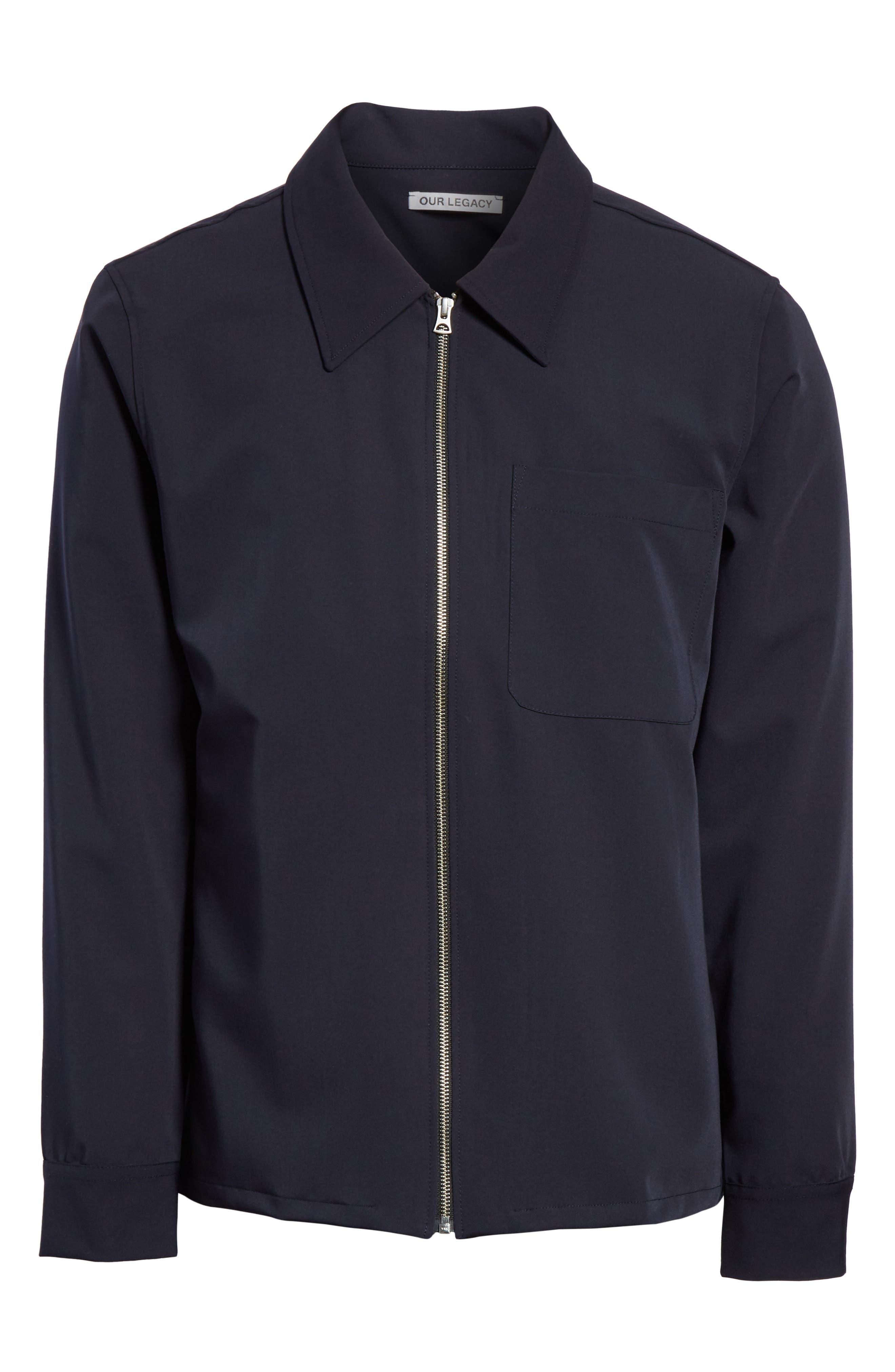 Gabardine Zip Shirt Jacket,                             Alternate thumbnail 6, color,                             Navy