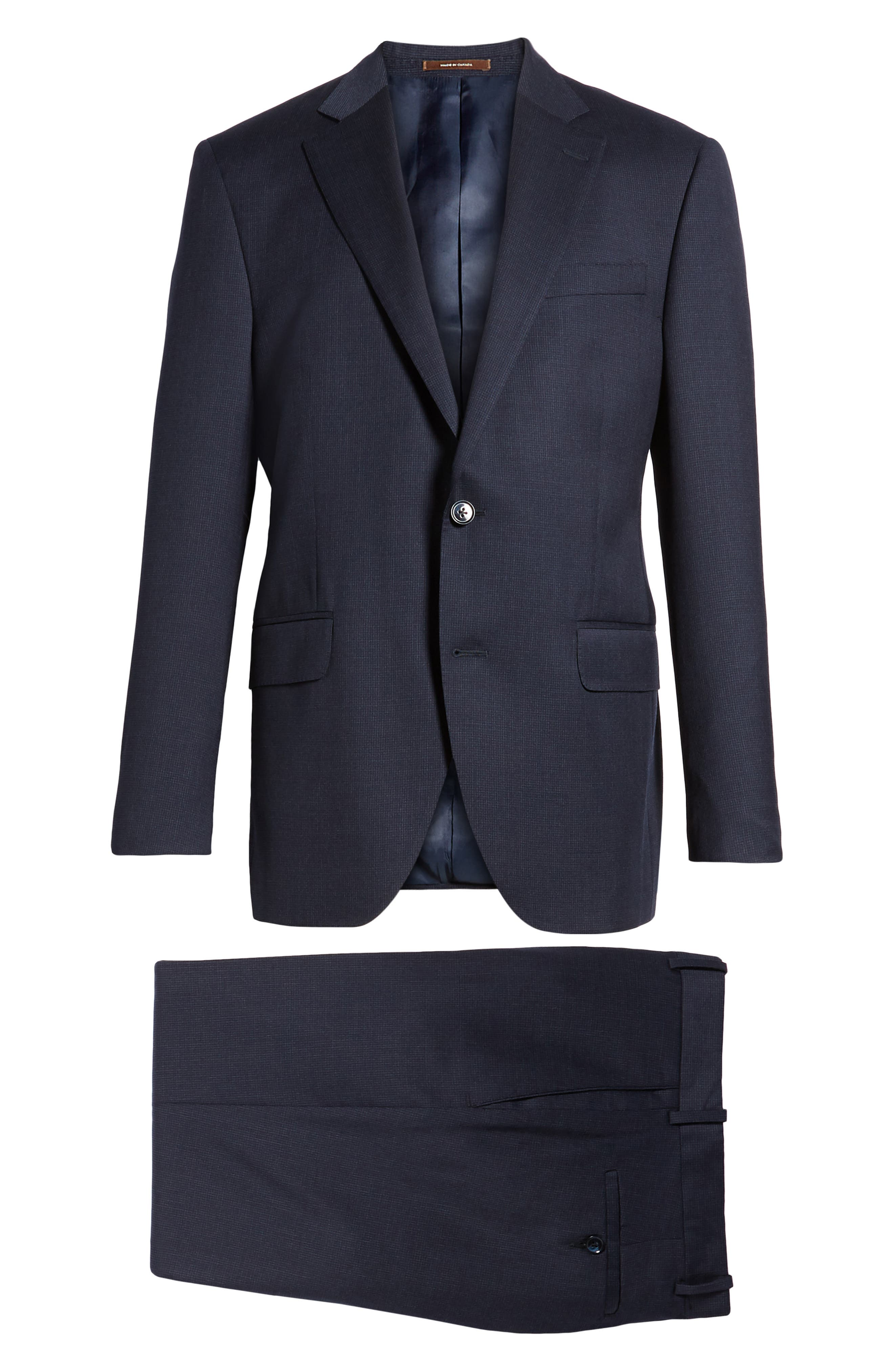Classic Fit Check Wool Suit,                             Alternate thumbnail 8, color,                             Navy