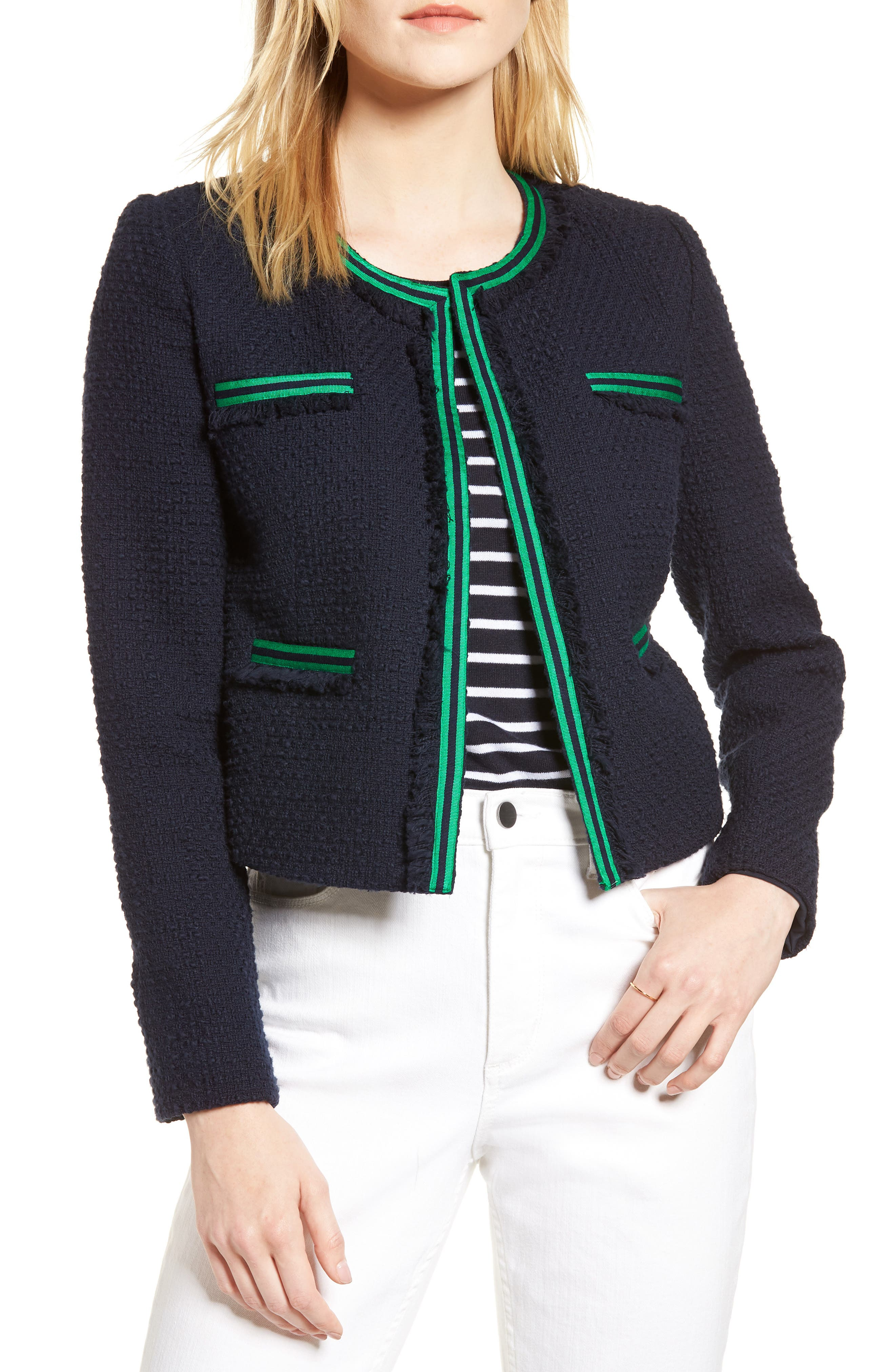 Ribbon Trim Textured Cotton Open Front Jacket,                         Main,                         color, Navy Night