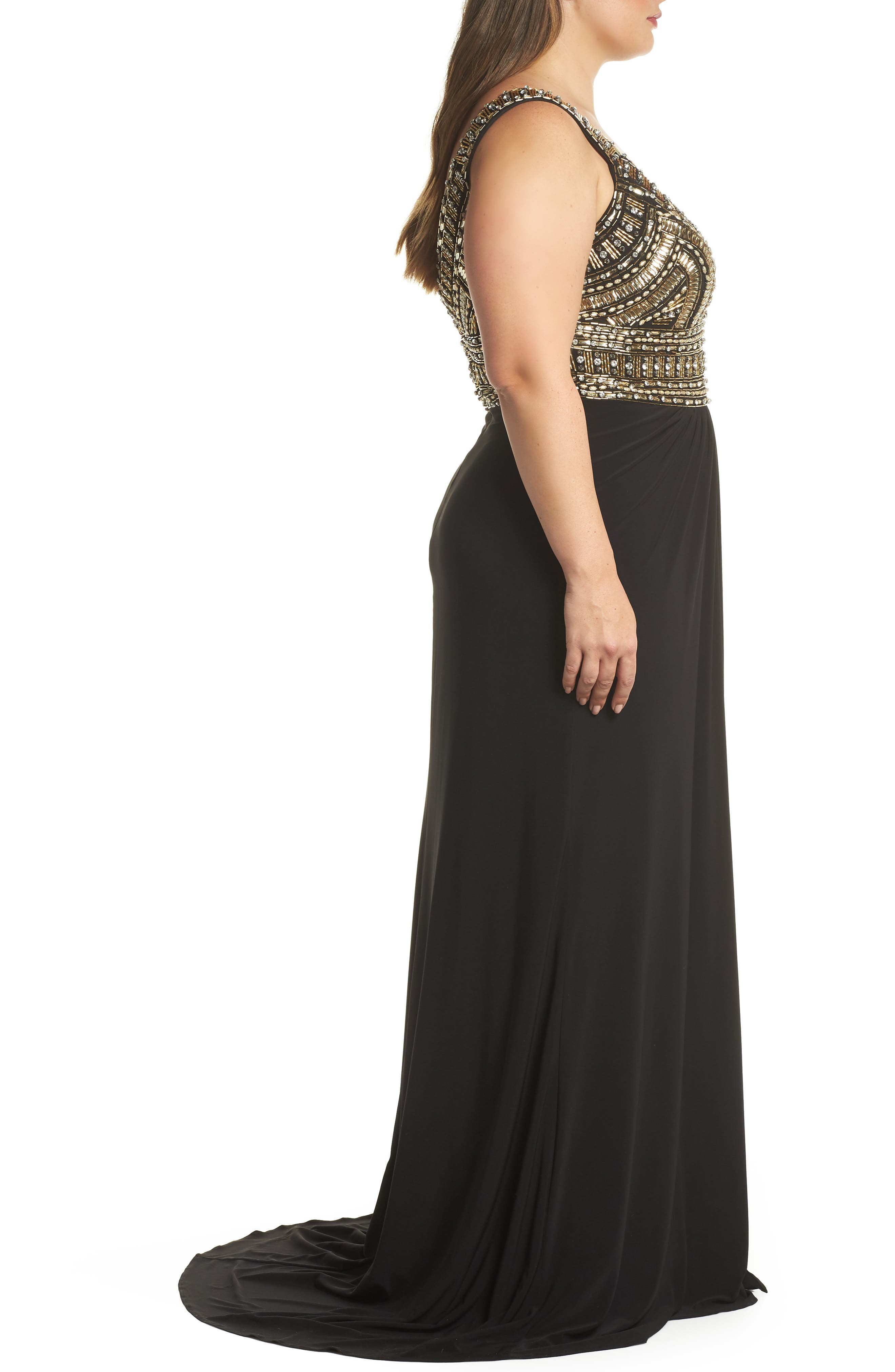 Embellished Gown,                             Alternate thumbnail 3, color,                             Black/ Gold
