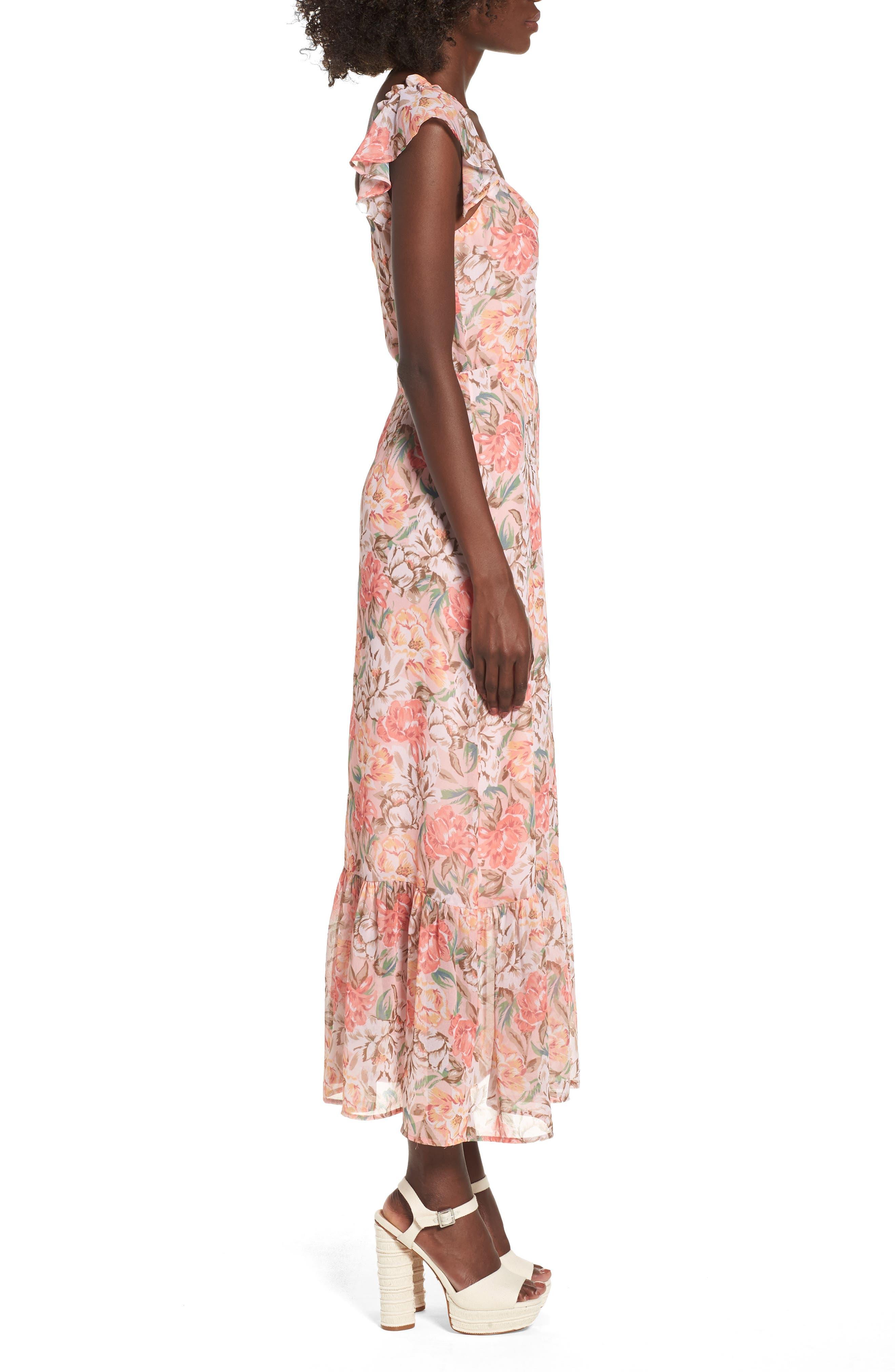 Valerie Blouson Midi Dress,                             Alternate thumbnail 4, color,                             Coral Floral