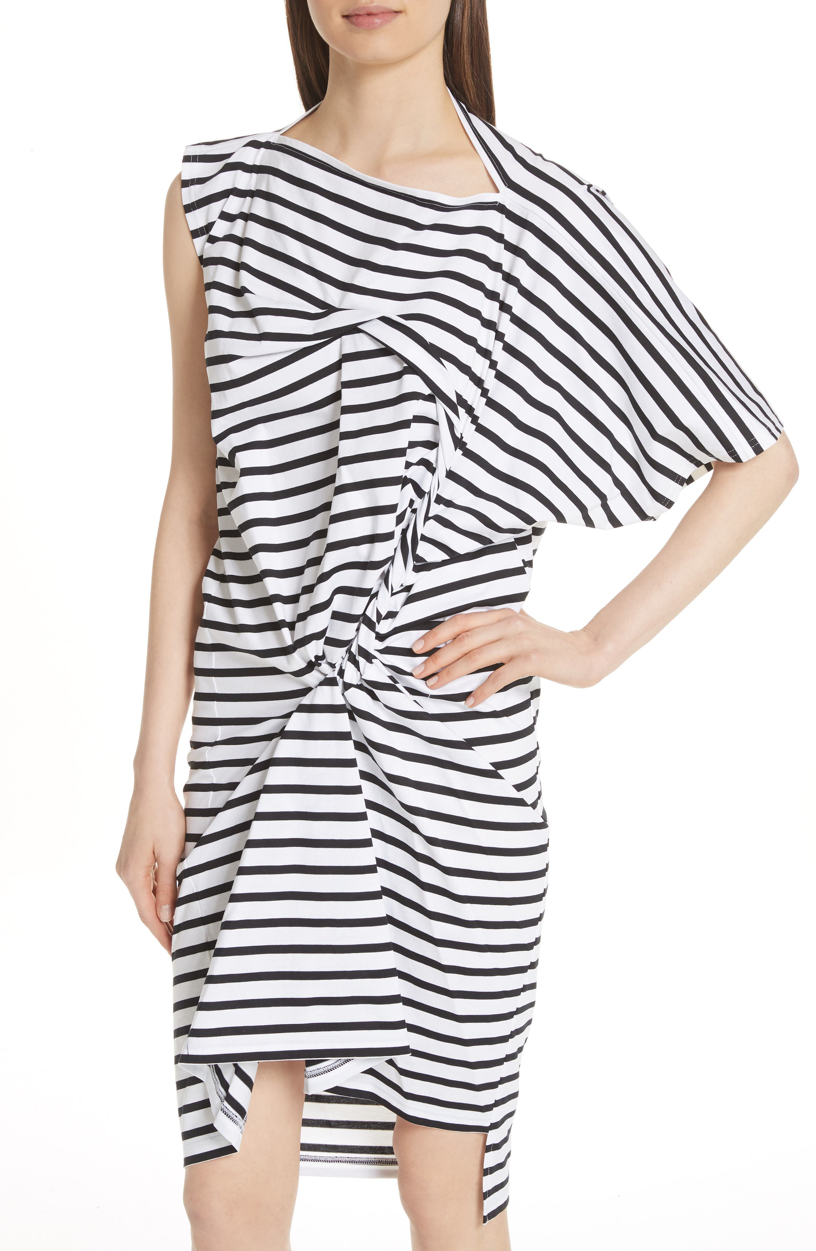 Asymmetrical Stripe Dress,                             Alternate thumbnail 4, color,                             White/ Black