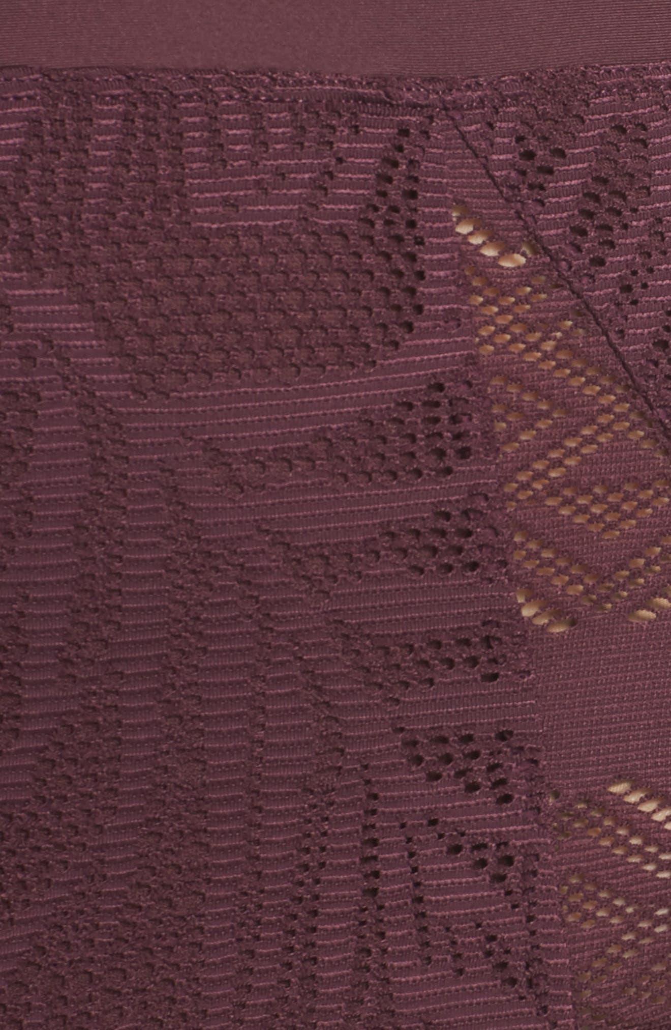 Crochet Inset High Waist Bikini Bottoms,                             Alternate thumbnail 5, color,                             Wine