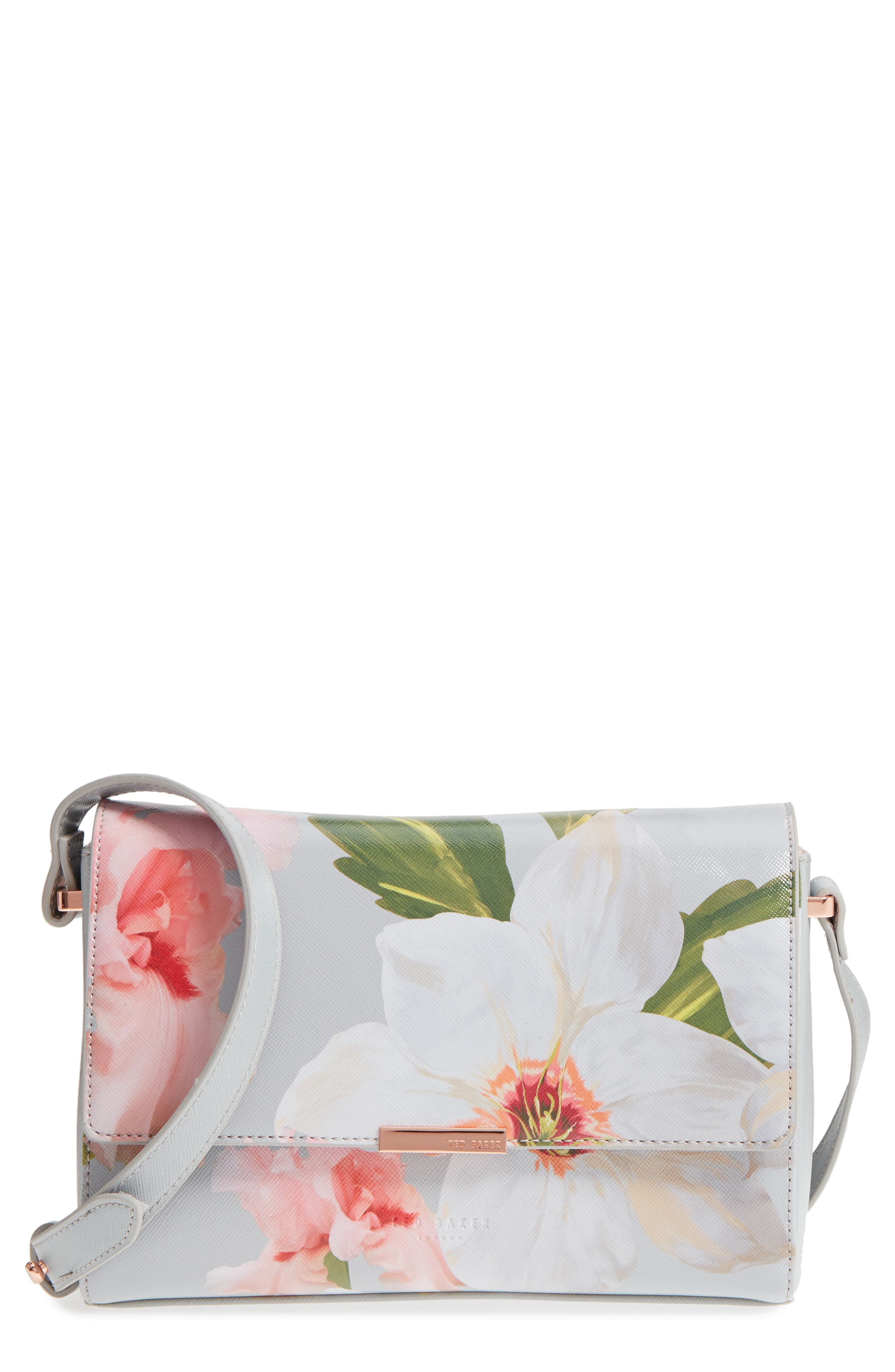 Prim Chatsworth Bloom Faux Leather Crossbody Bag,                             Main thumbnail 1, color,                             Mid Grey