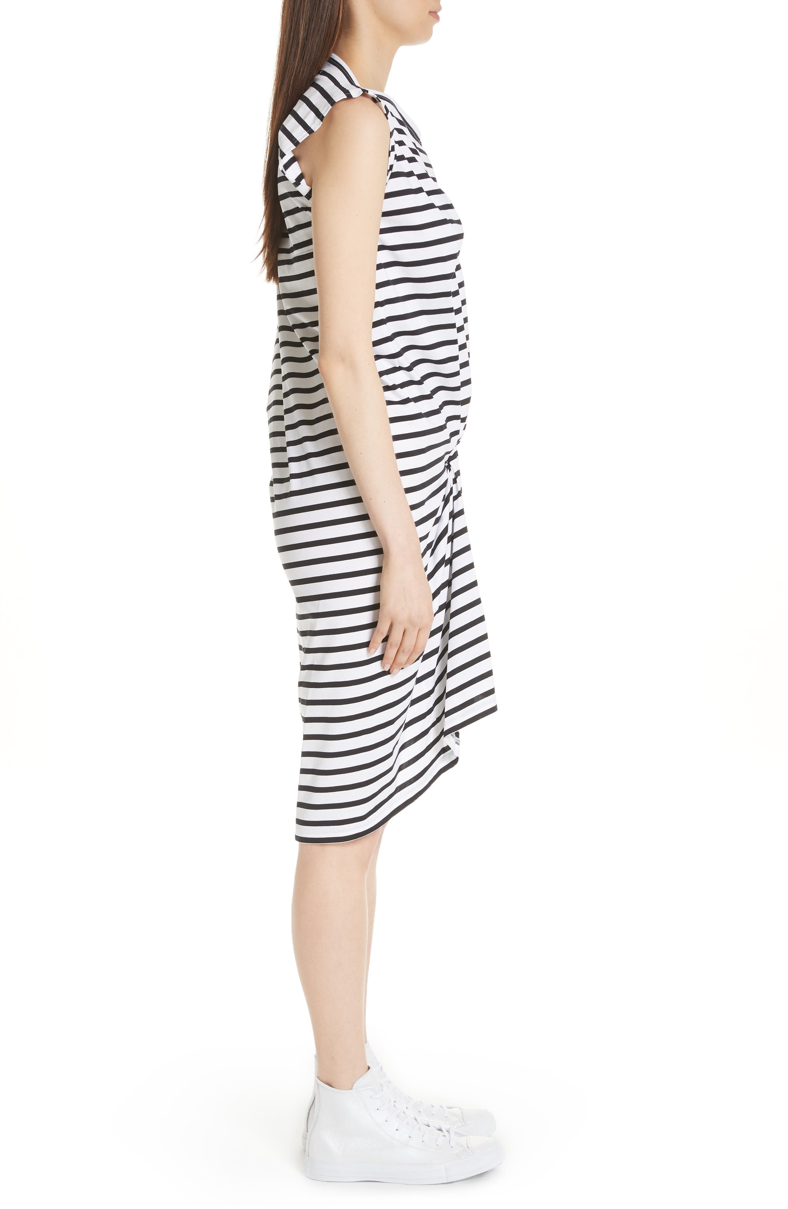 Asymmetrical Stripe Dress,                             Alternate thumbnail 3, color,                             White/ Black
