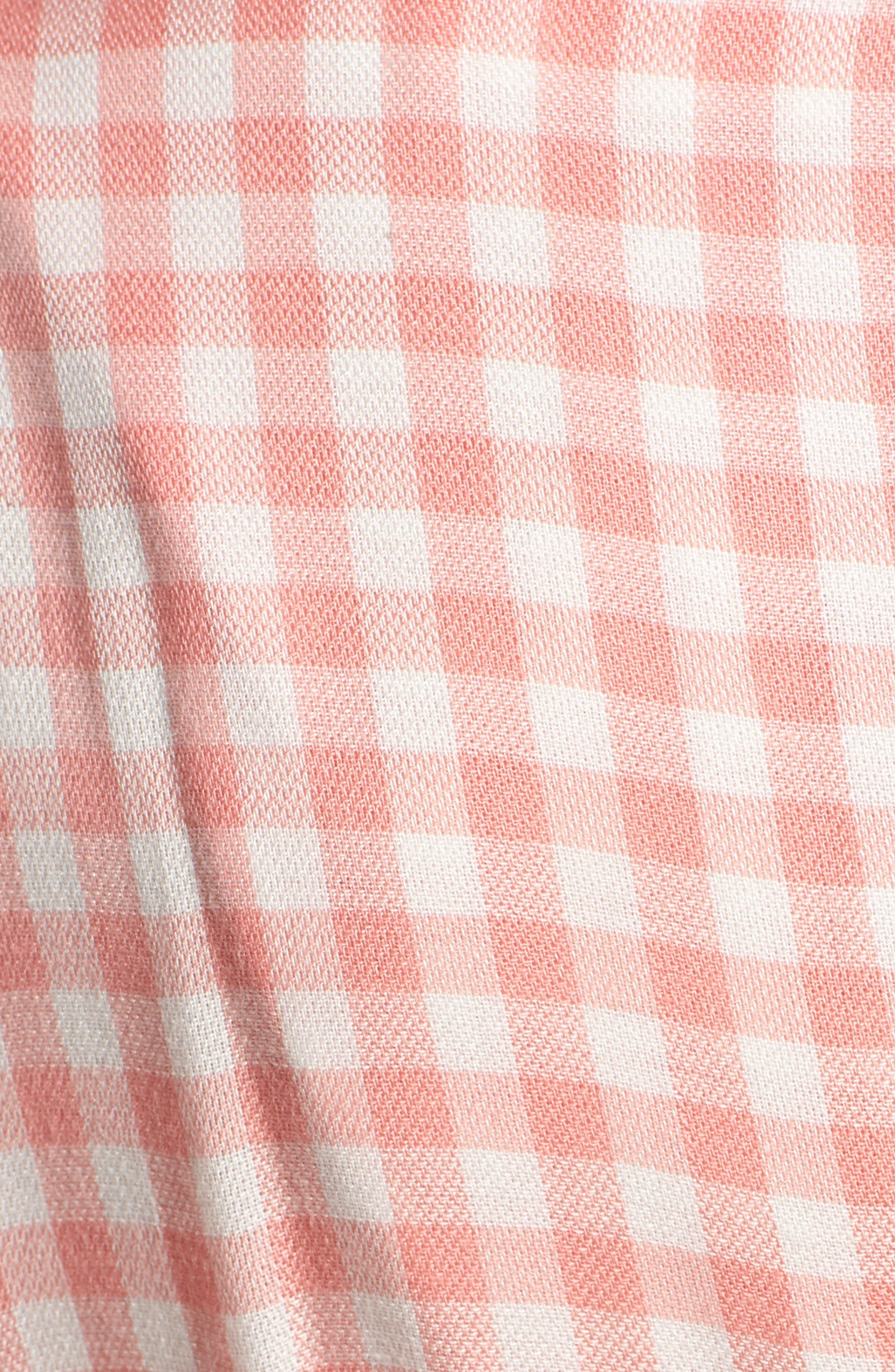 Brunch Gingham Jumpsuit,                             Alternate thumbnail 7, color,                             Grapefruit Pink