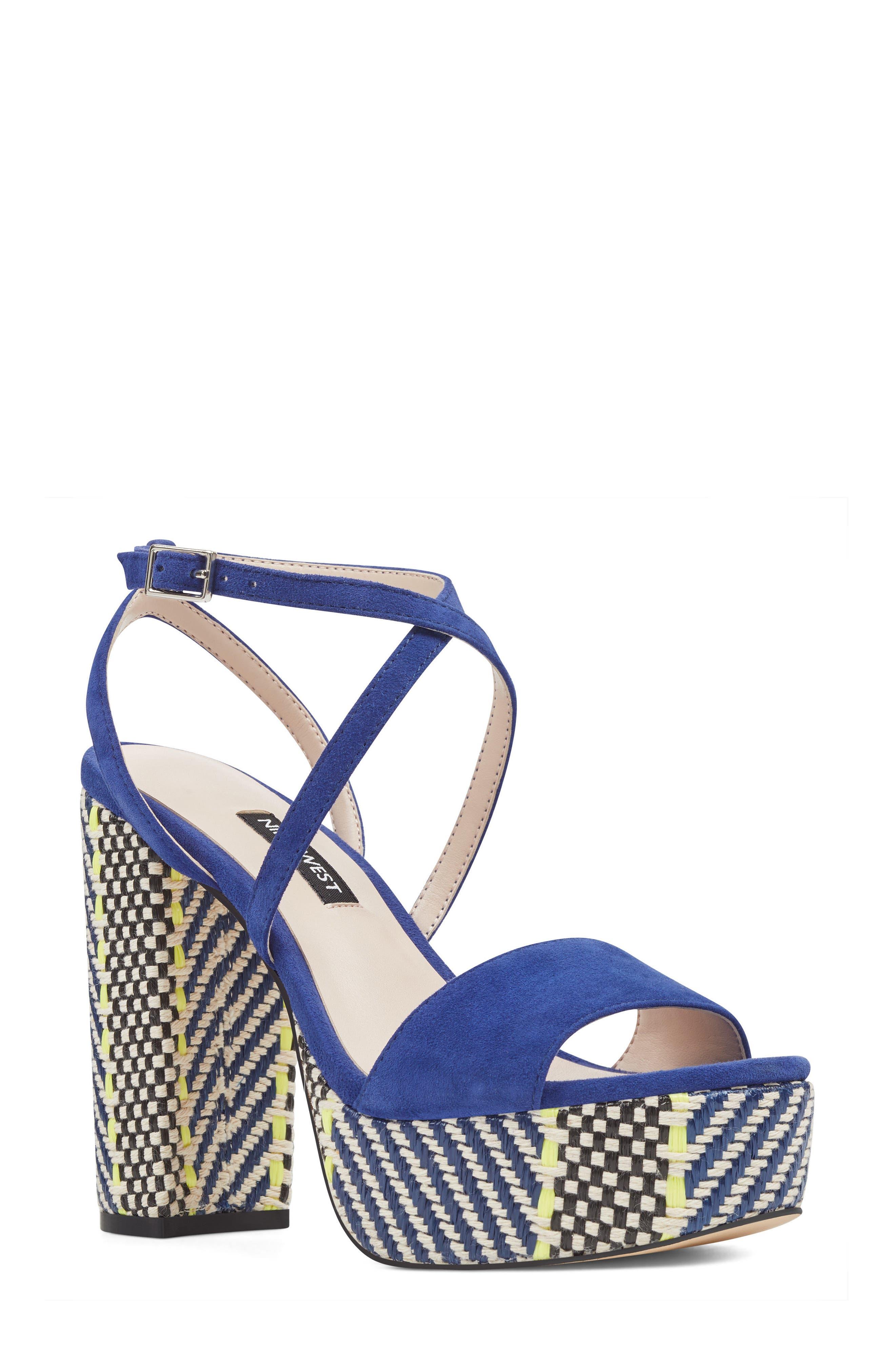 Markando Platform Sandal,                             Main thumbnail 1, color,                             Dark Blue Suede