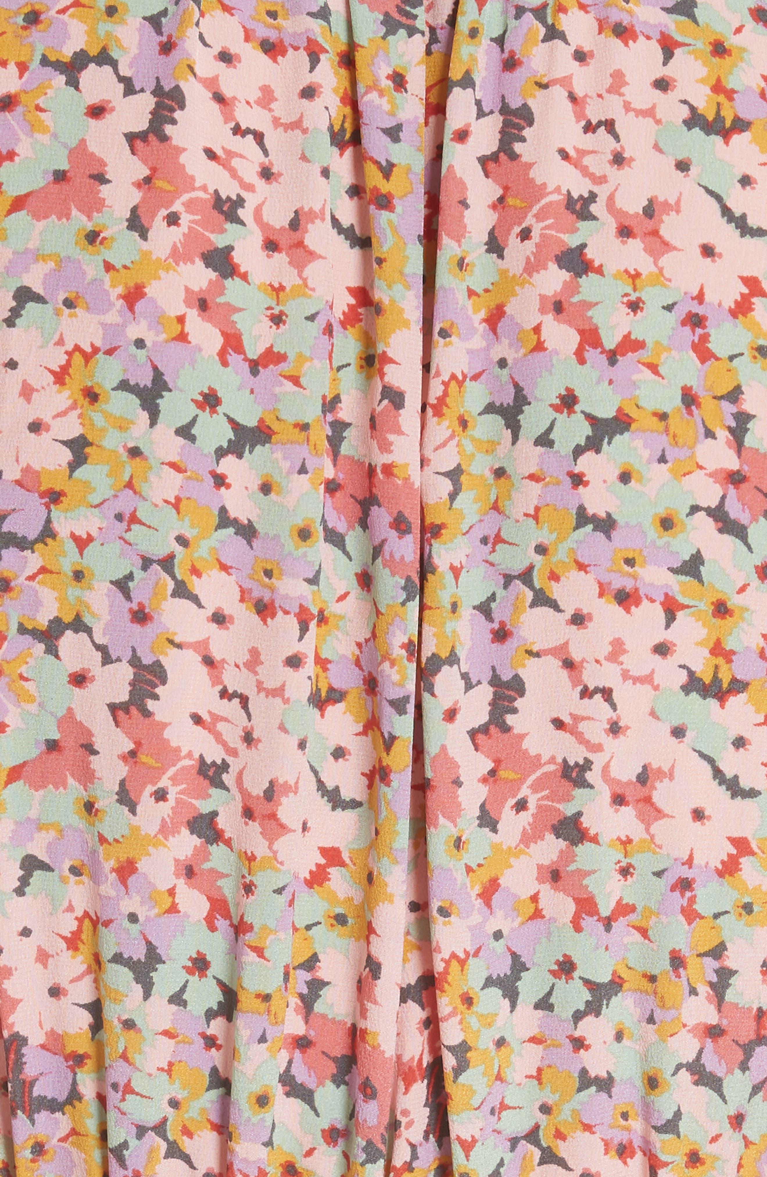 Margo Faux Wrap Silk Dress,                             Alternate thumbnail 5, color,                             Multi