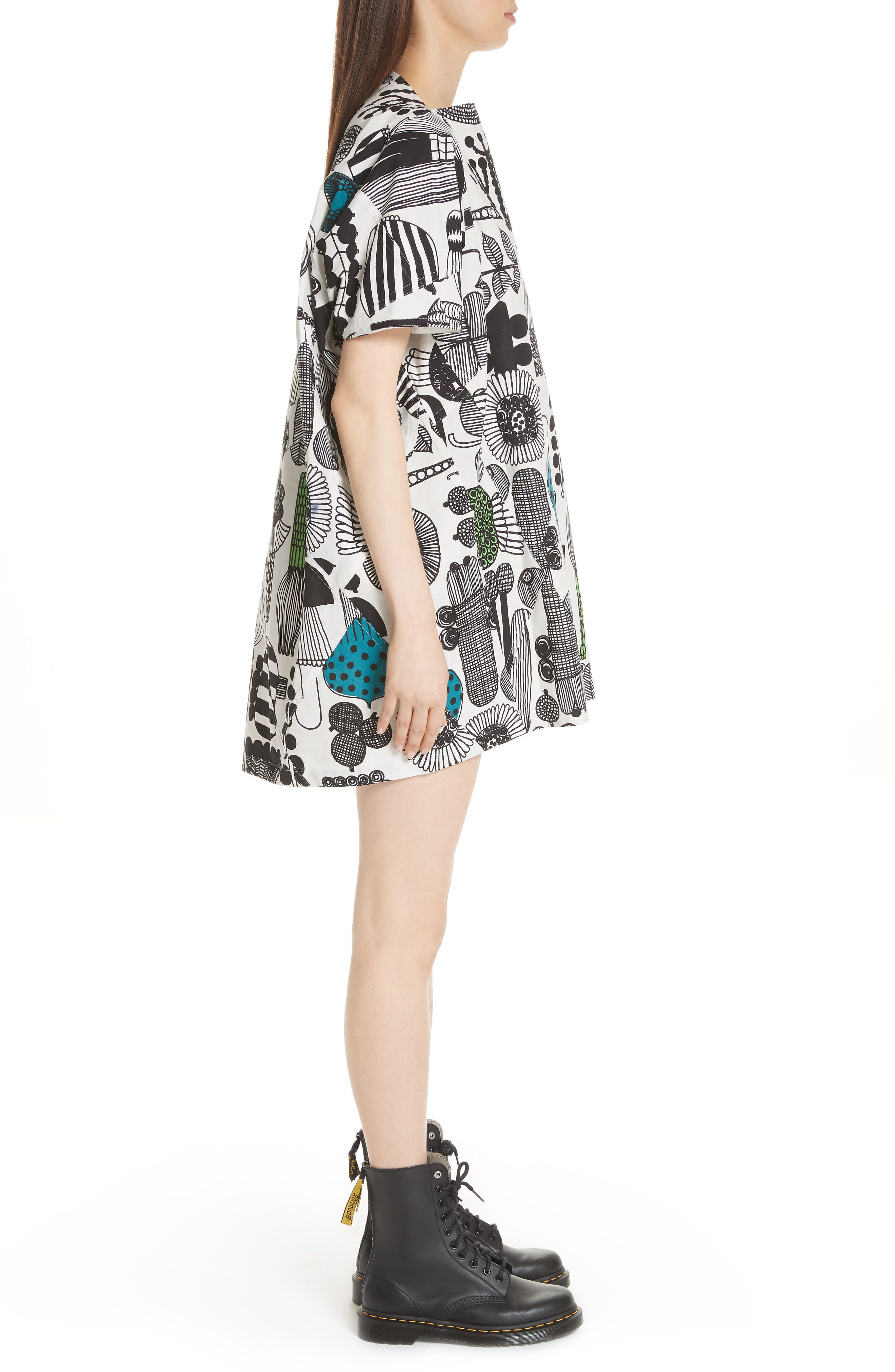 Vegetable Print Dress,                             Alternate thumbnail 3, color,                             Gry/ Grn/ Blk