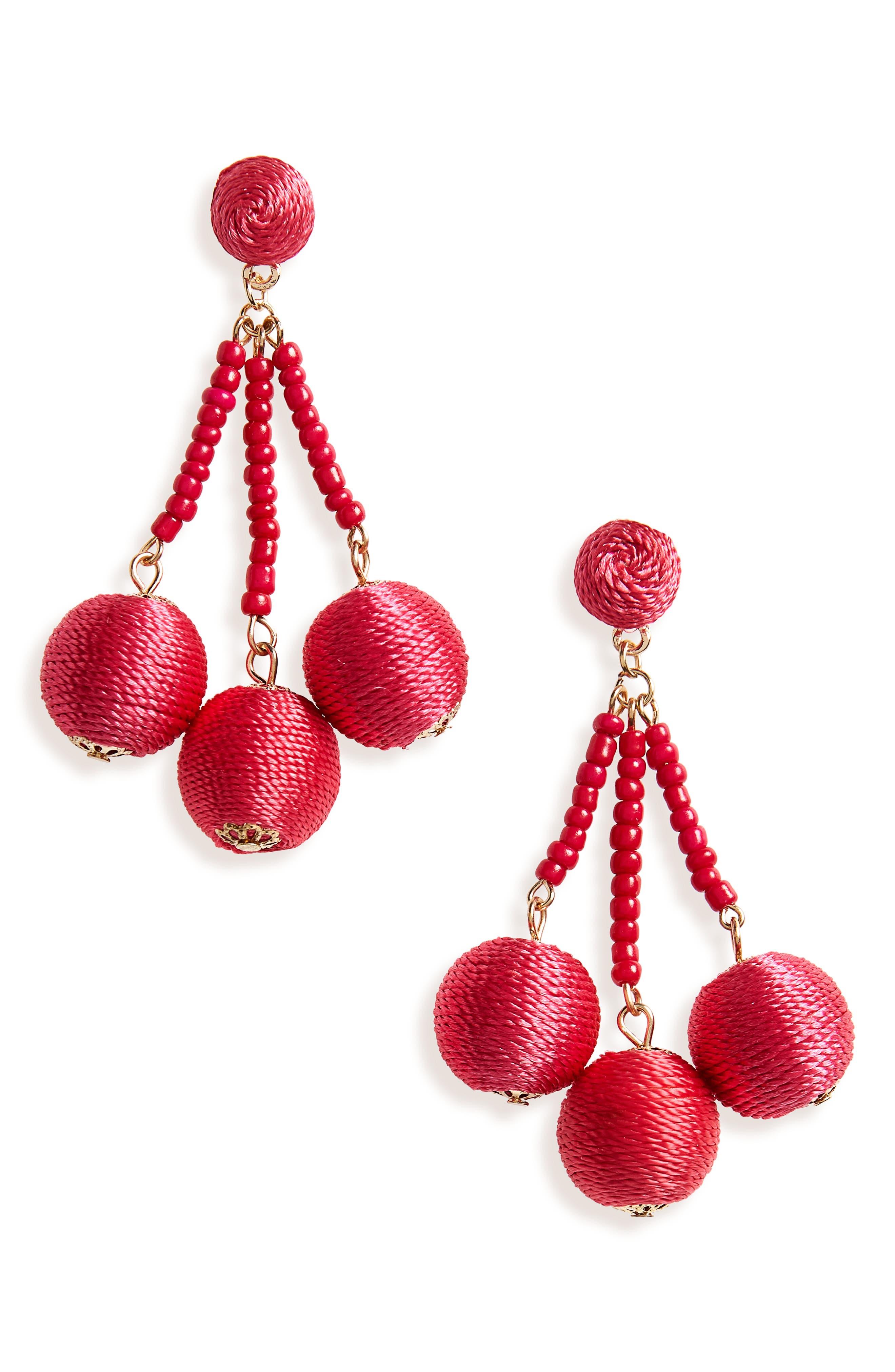 Sphere Drop Earrings,                         Main,                         color, Pink Beetroot