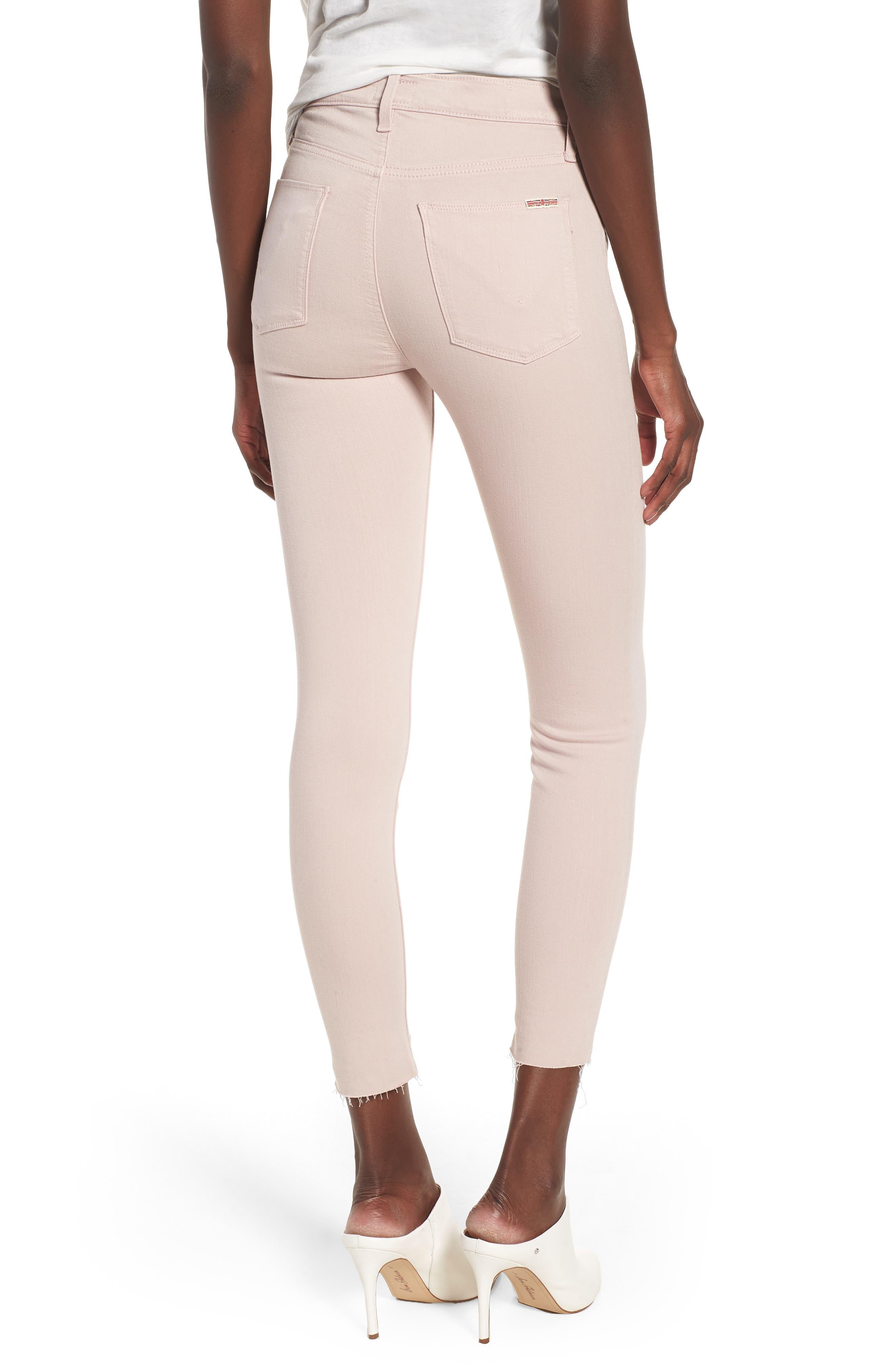 Barbara High Waist Raw Hem Ankle Skinny Jeans,                             Alternate thumbnail 2, color,                             Blushing