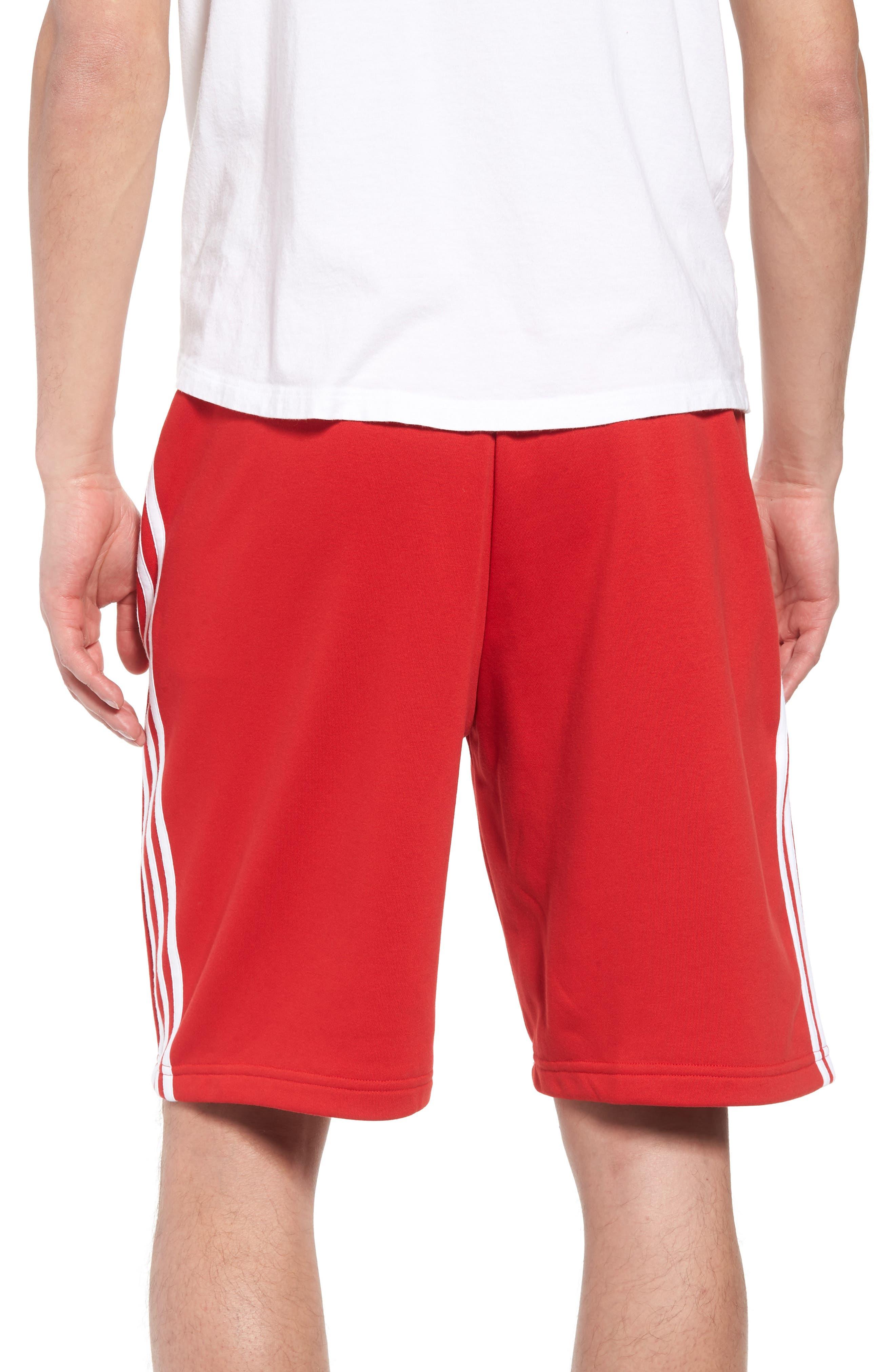 3-Stripes Shorts,                             Alternate thumbnail 2, color,                             Red/ White