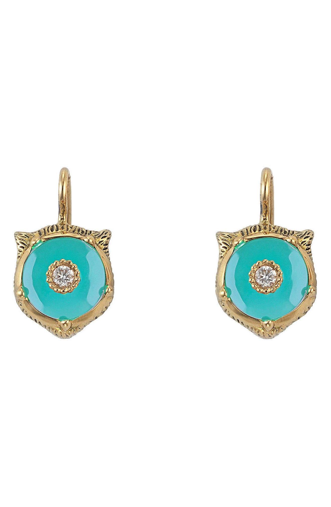 18K Yellow Gold Le Marche Des Merveilles Turquoise & Diamond Feline Drop Earrings in Yellow Gold/ Turquoise