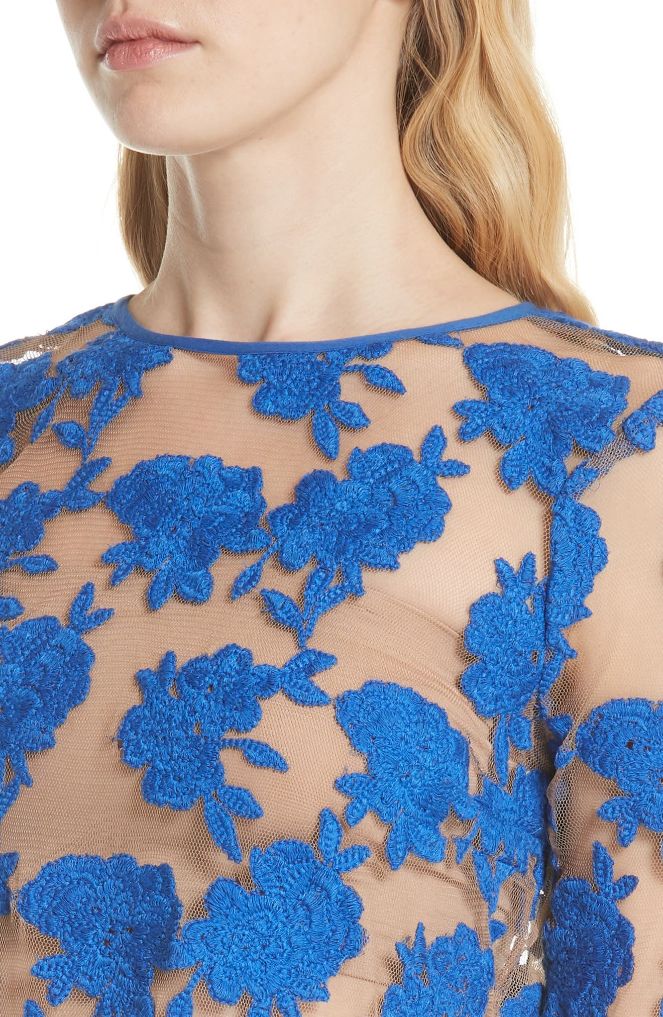 Sheer Embroidered Floral Top,                             Alternate thumbnail 4, color,                             Blue Pigment