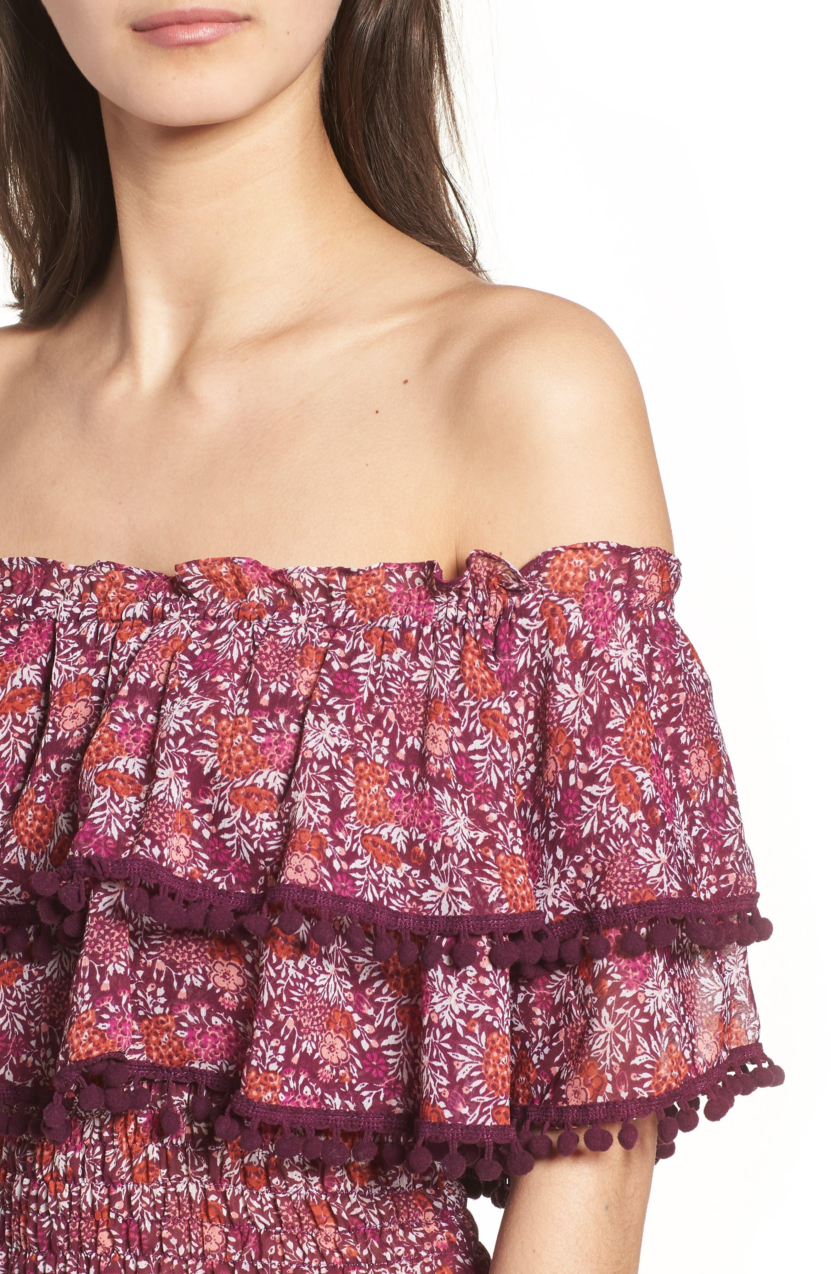 Maribel Off the Shoulder Midi Dress,                             Alternate thumbnail 4, color,                             Multi Fe4