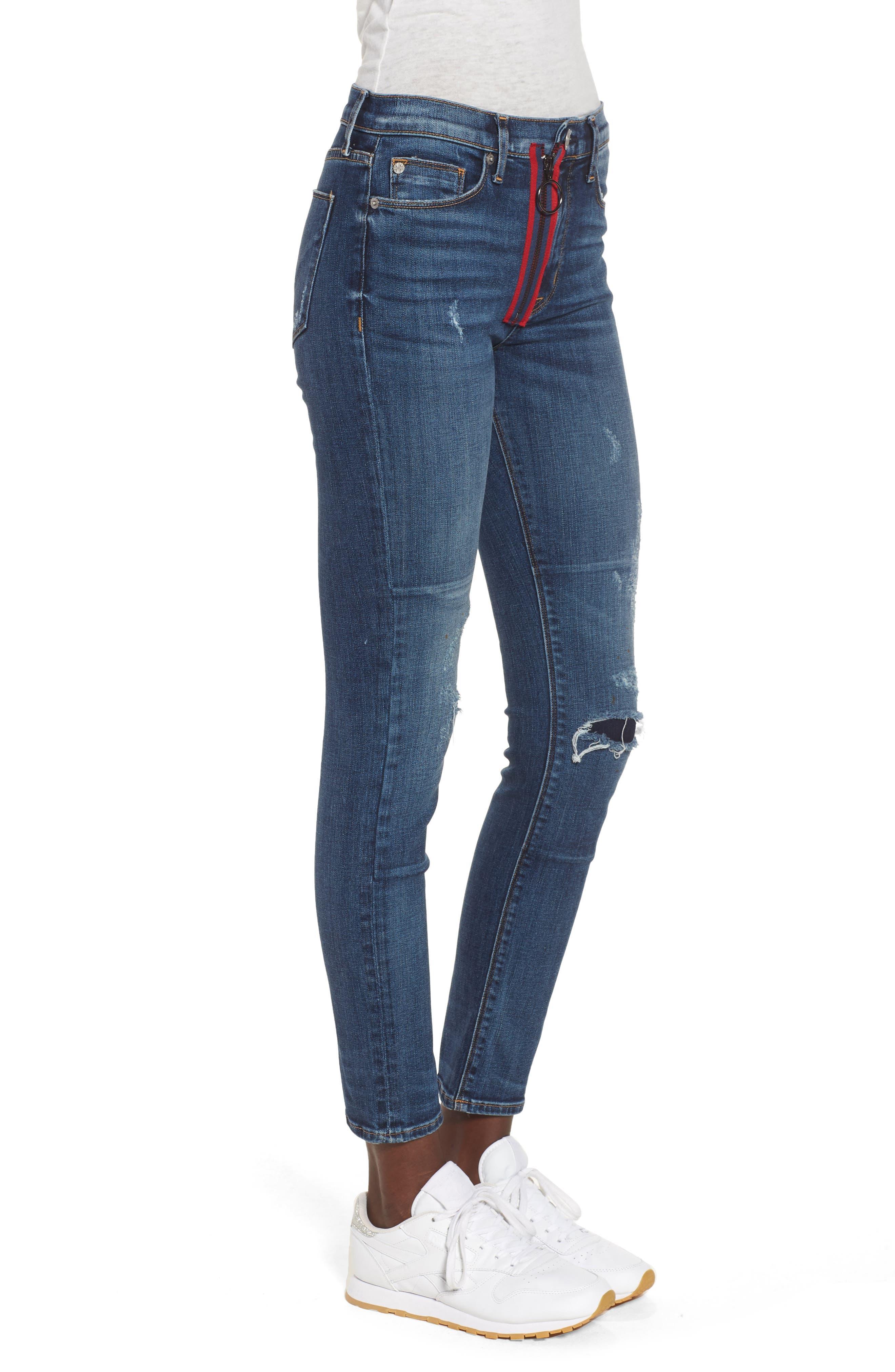 Barbara Exposed Zip High Waist Ankle Skinny Jeans,                             Alternate thumbnail 3, color,                             Vibez