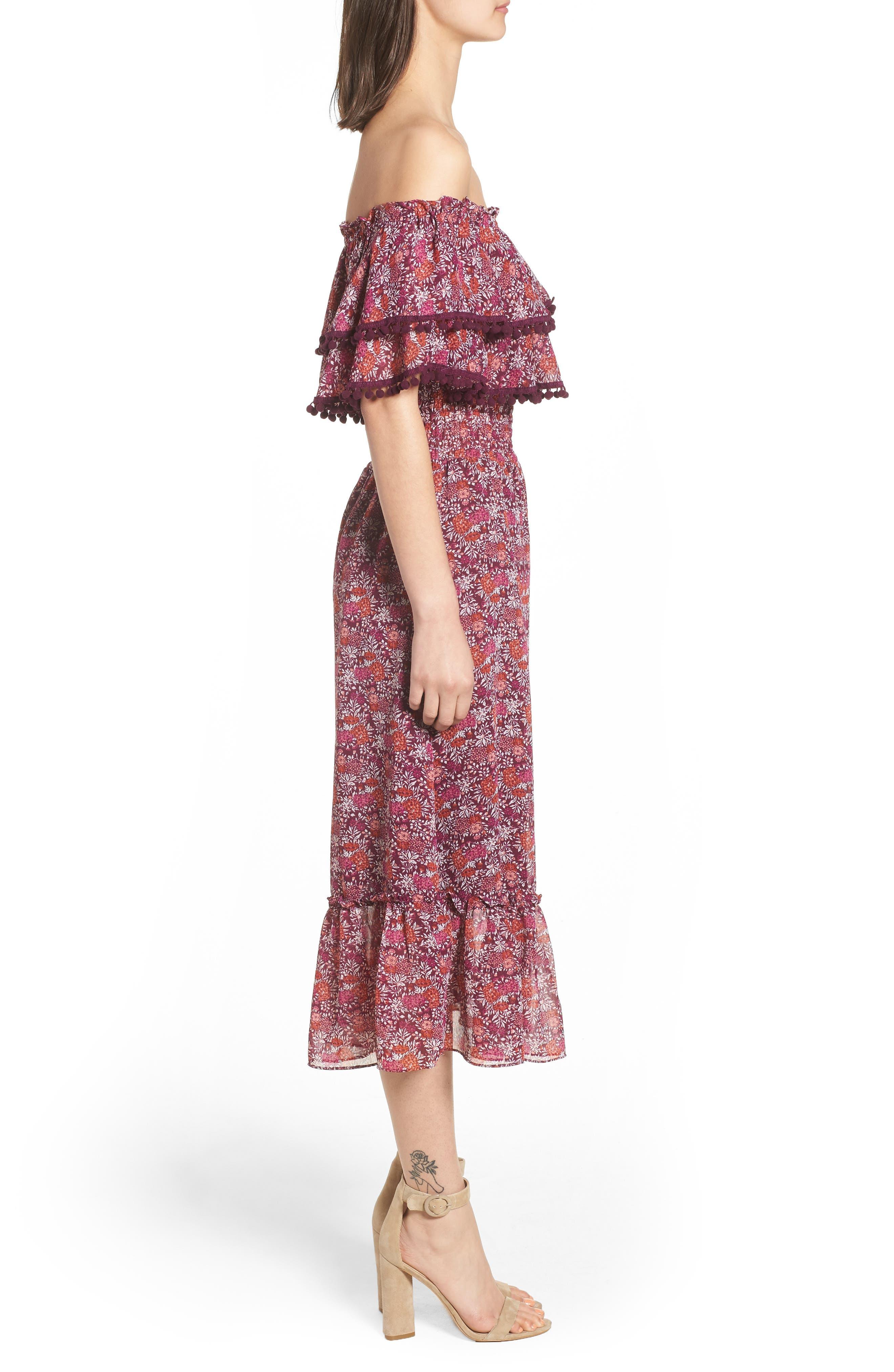 Maribel Off the Shoulder Midi Dress,                             Alternate thumbnail 3, color,                             Multi Fe4