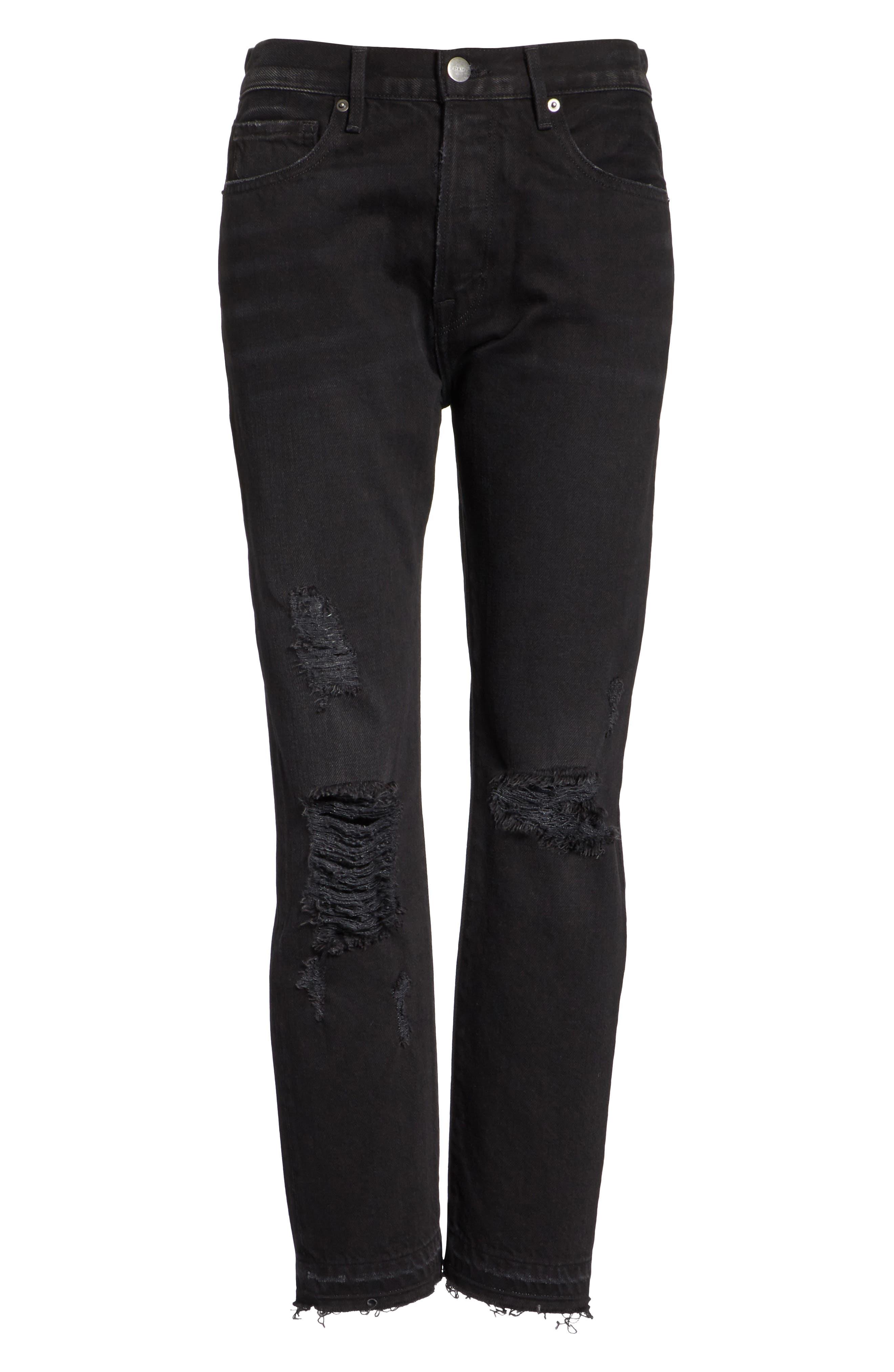 Le Original Released Hem High Waist Jeans,                             Alternate thumbnail 6, color,                             Grey River