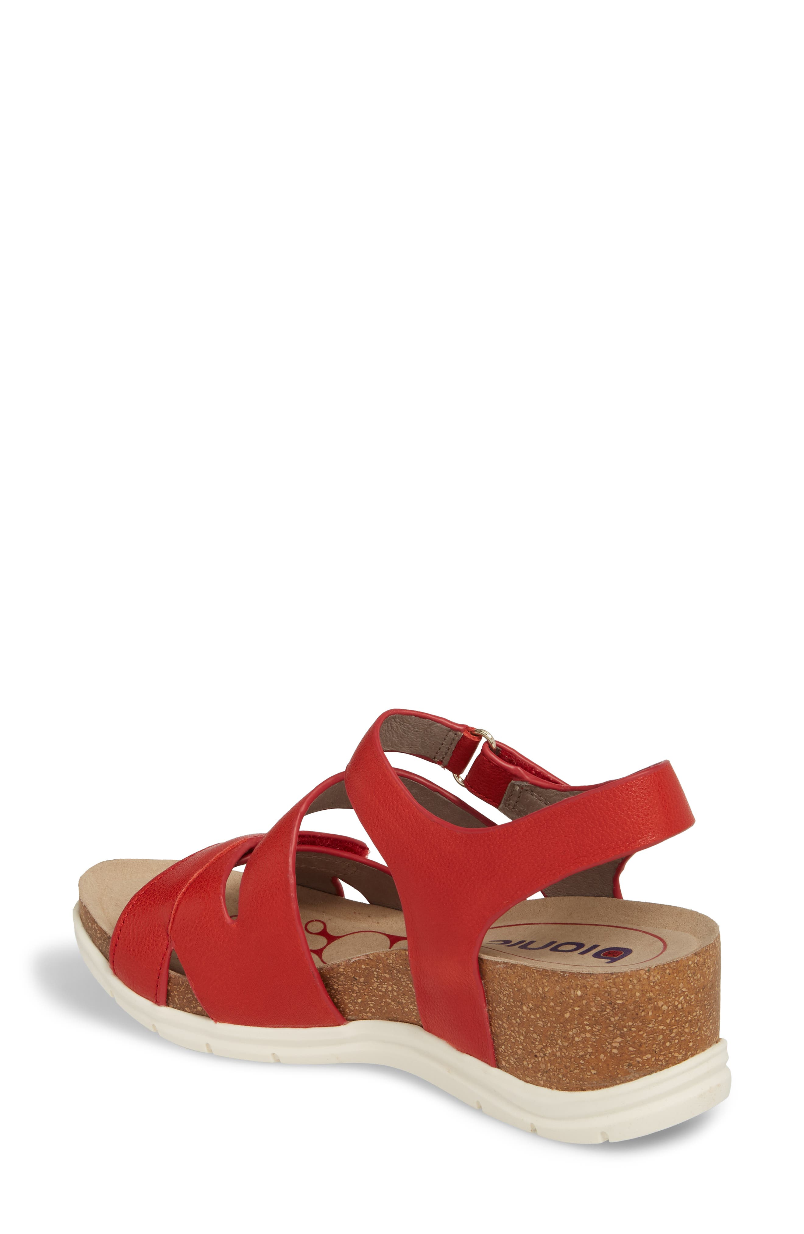 Passion Wedge Sandal,                             Alternate thumbnail 2, color,                             Fire Red Leather