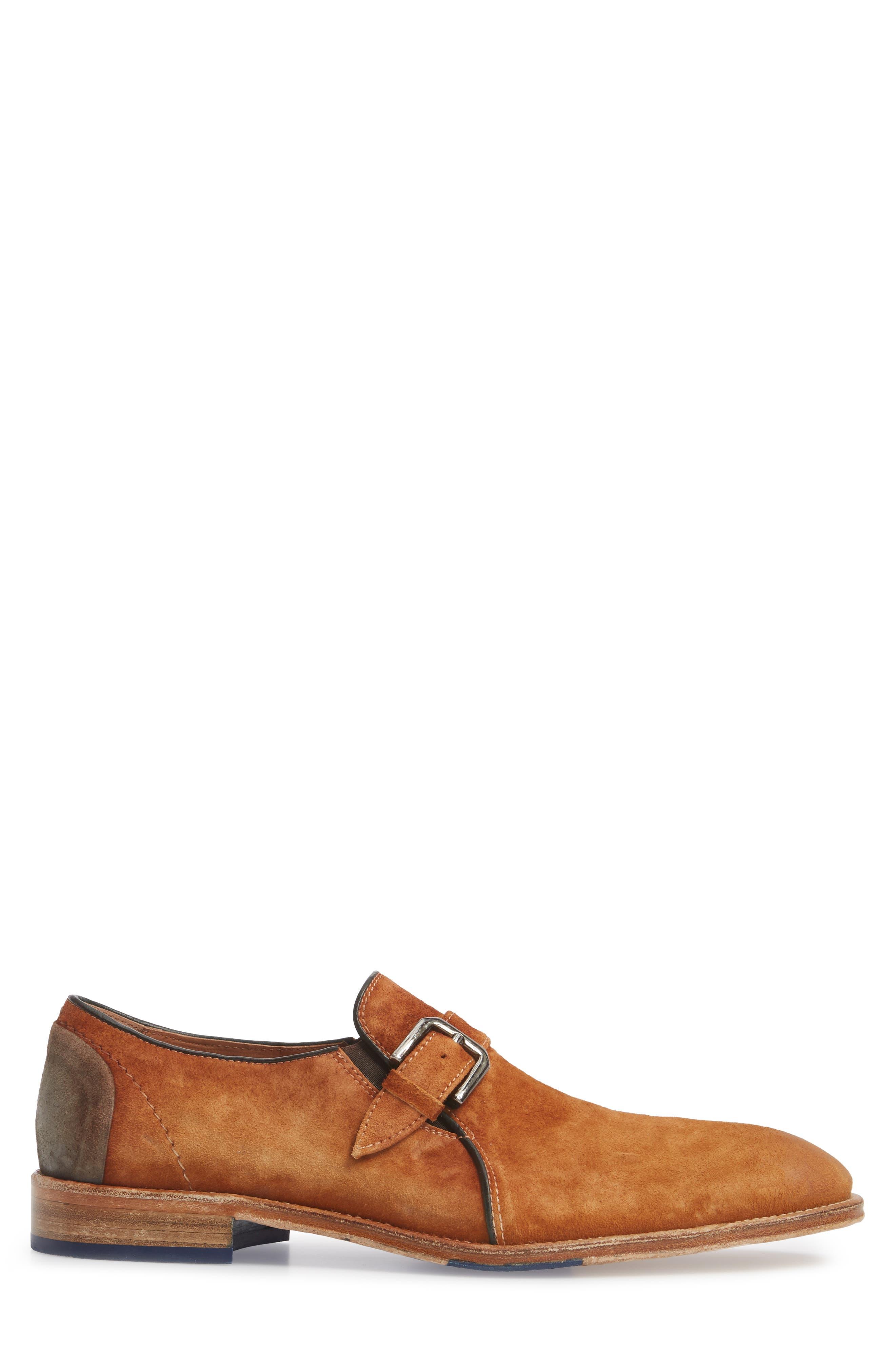 Alex Single Buckle Monk Shoe,                             Alternate thumbnail 3, color,                             Tan Wash Suede