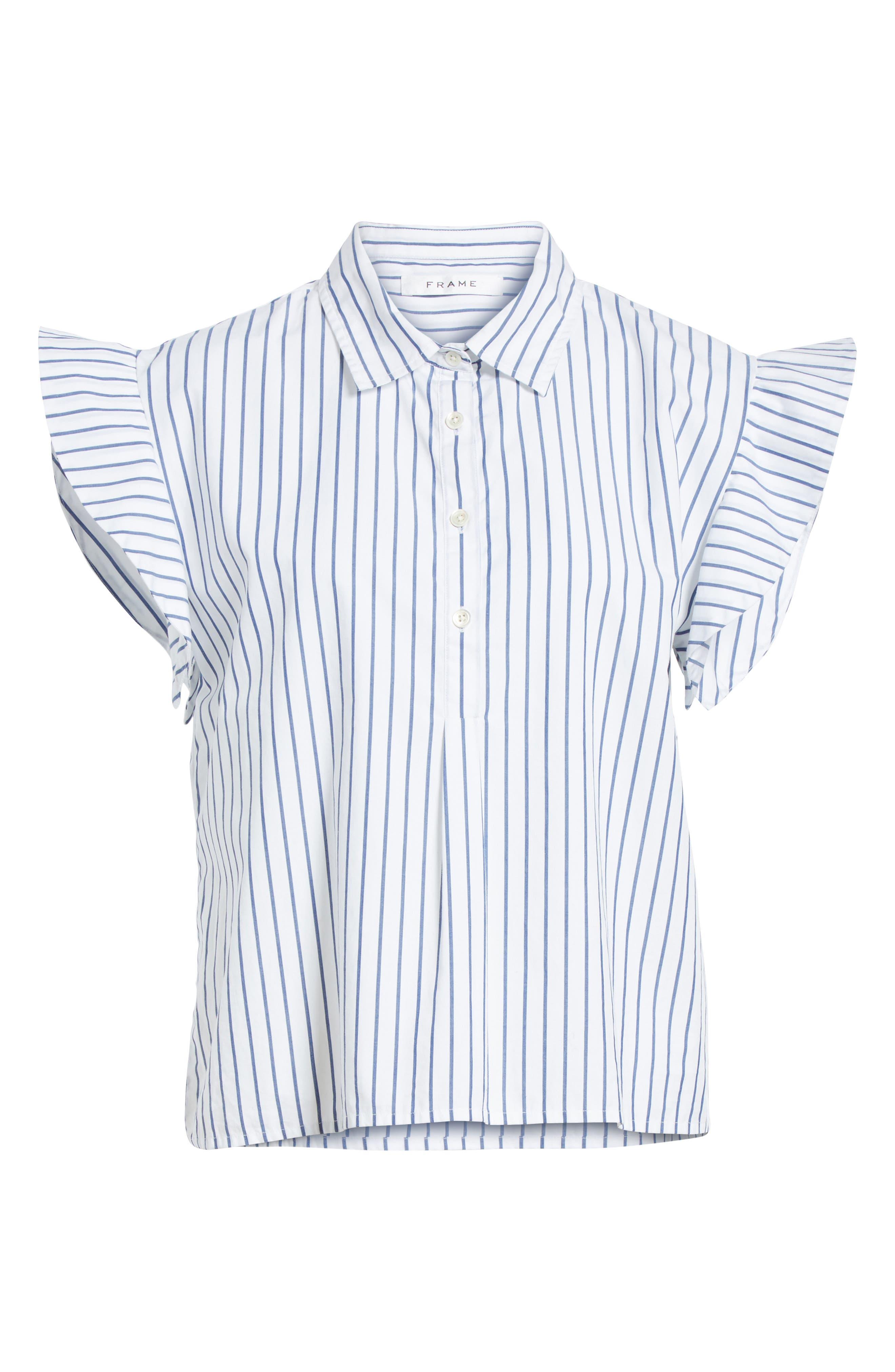 Flutter Sleeve Stripe Shirt,                             Alternate thumbnail 6, color,                             Blanc Multi