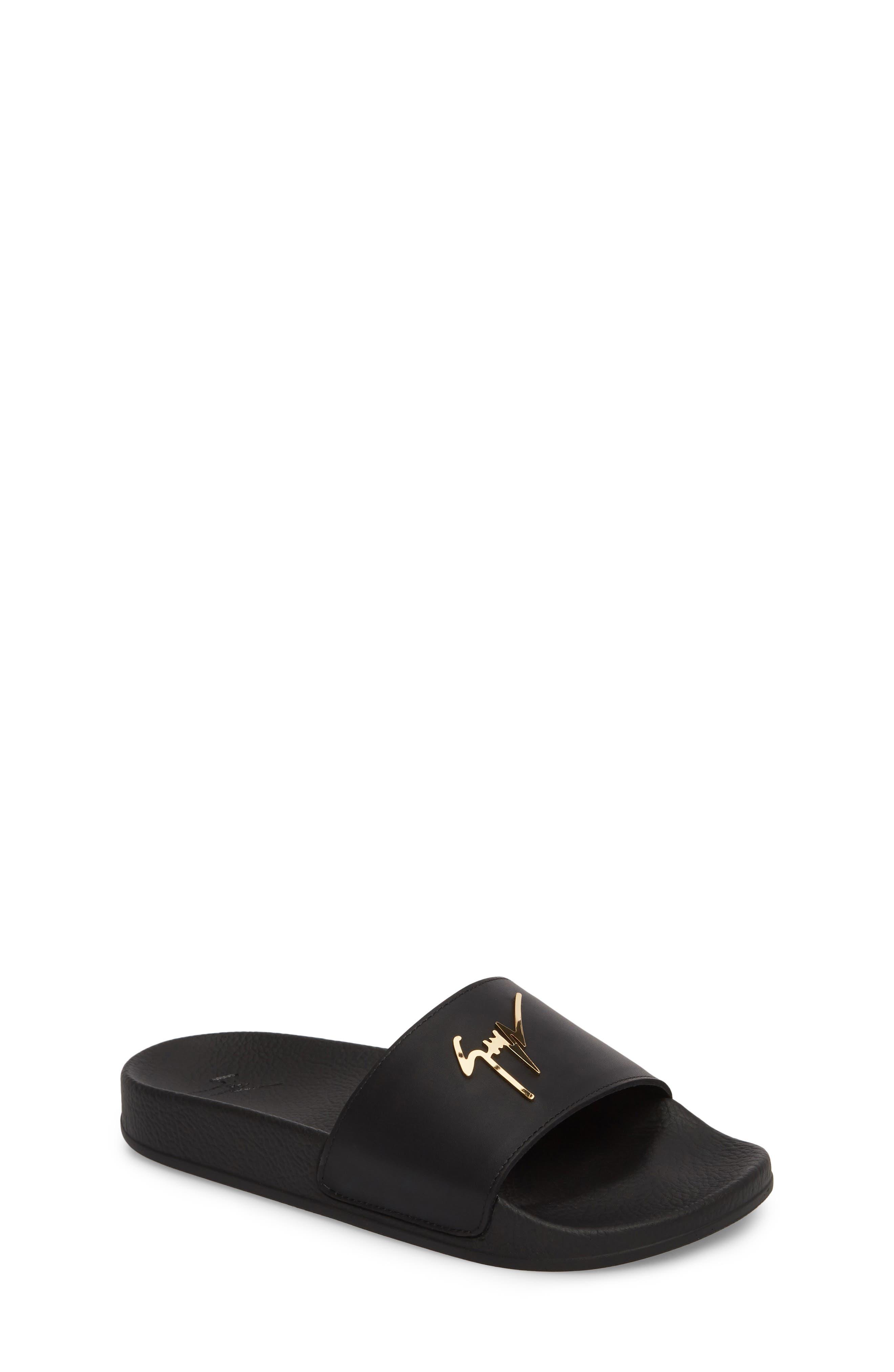 Birel Slide Sandal,                         Main,                         color, Black Leather