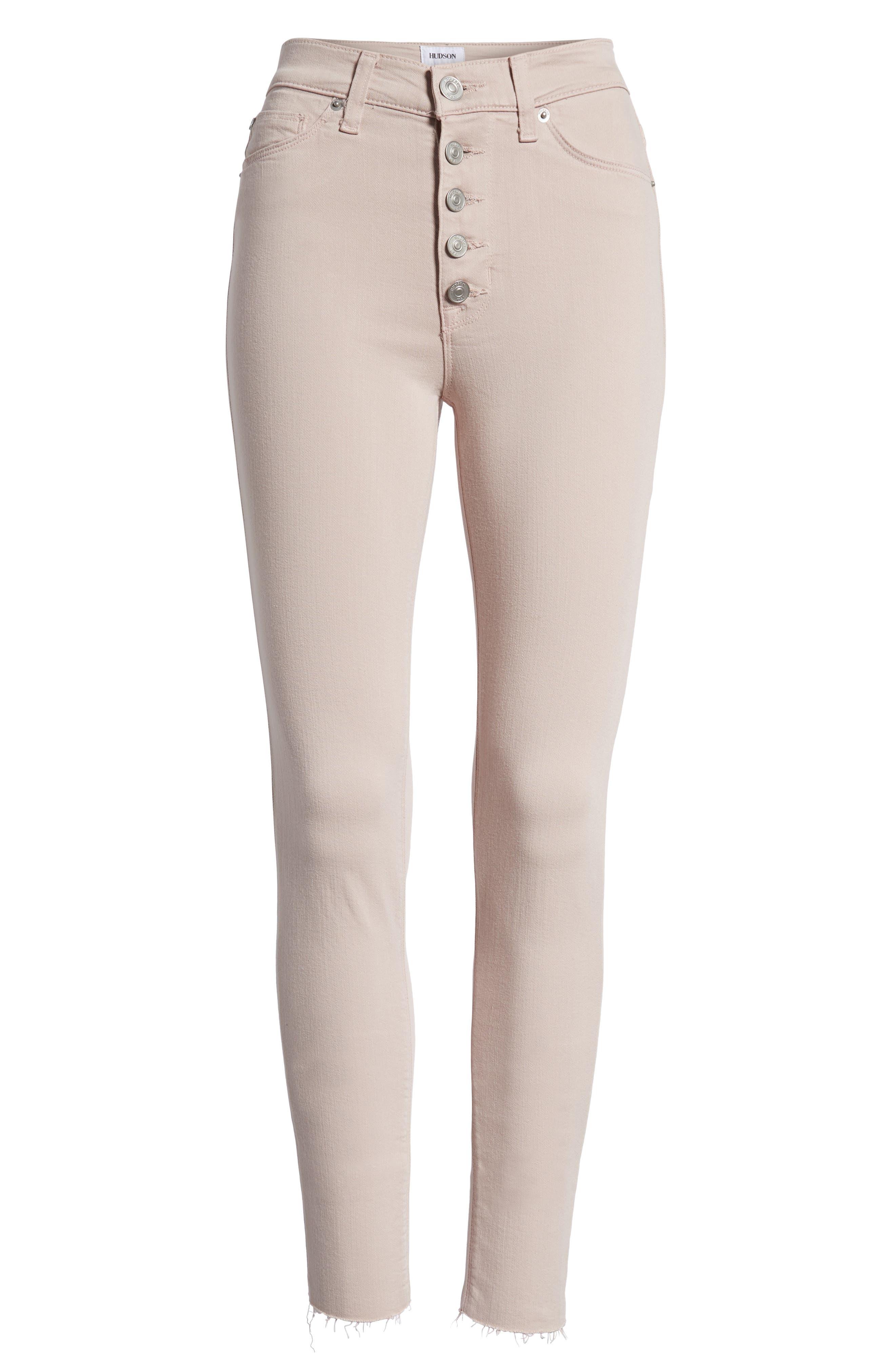 Barbara High Waist Raw Hem Ankle Skinny Jeans,                             Alternate thumbnail 7, color,                             Blushing