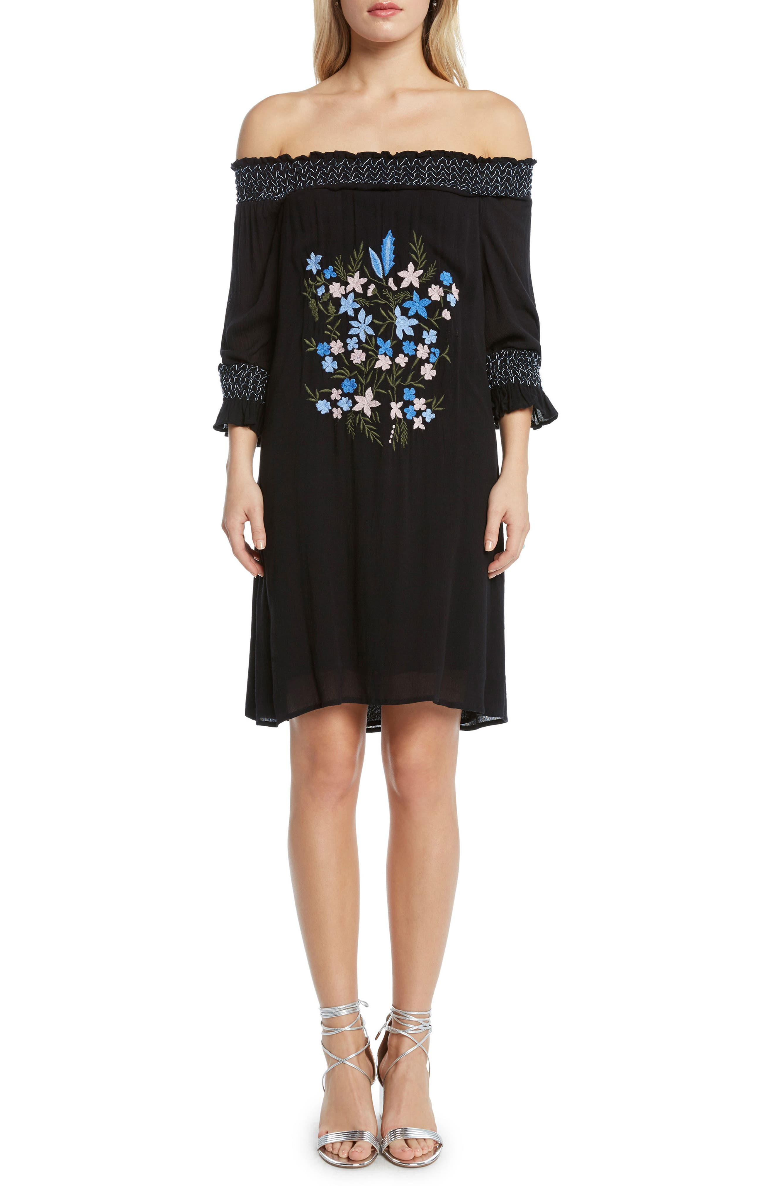 Embroidered Off the Shoulder Dress,                             Main thumbnail 1, color,                             Black
