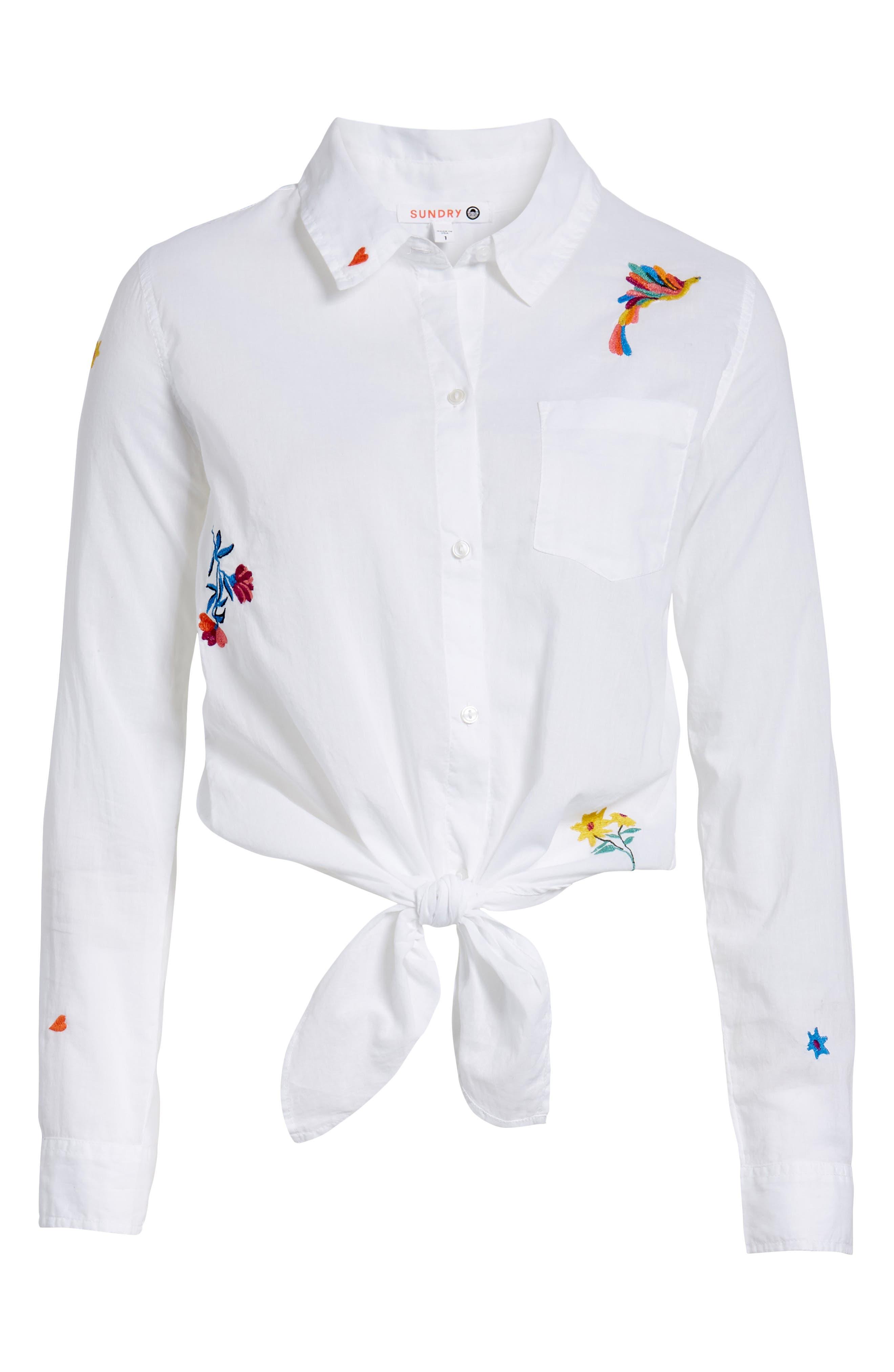 Tie Front Shirt,                             Alternate thumbnail 7, color,                             White