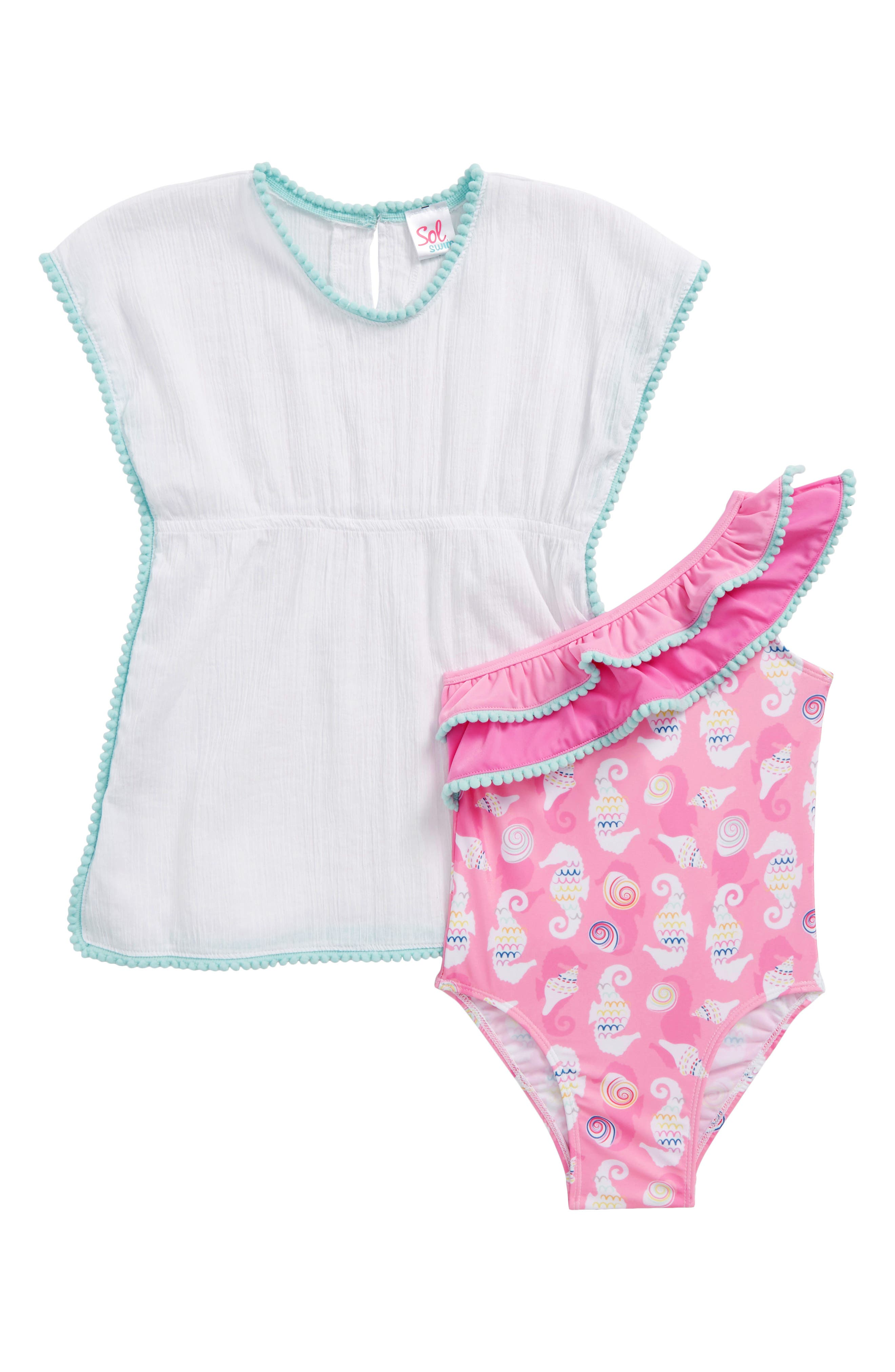 Sol Swim Seahorse One-Piece Swimsuit & Cover-Up Set (Toddler Girls & Little Girls)