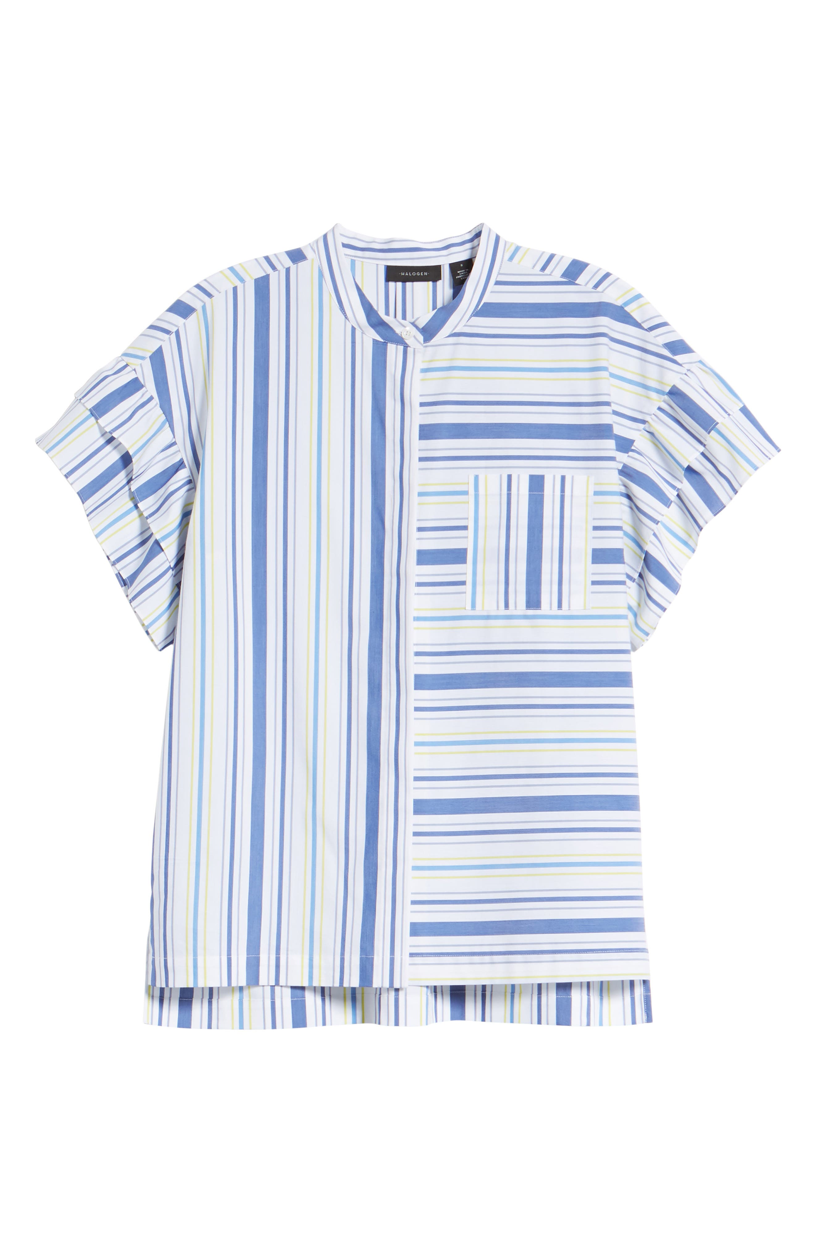 Ruffle Sleeve Stretch Cotton Blend Blouse,                             Alternate thumbnail 7, color,                             White Multi Stripe