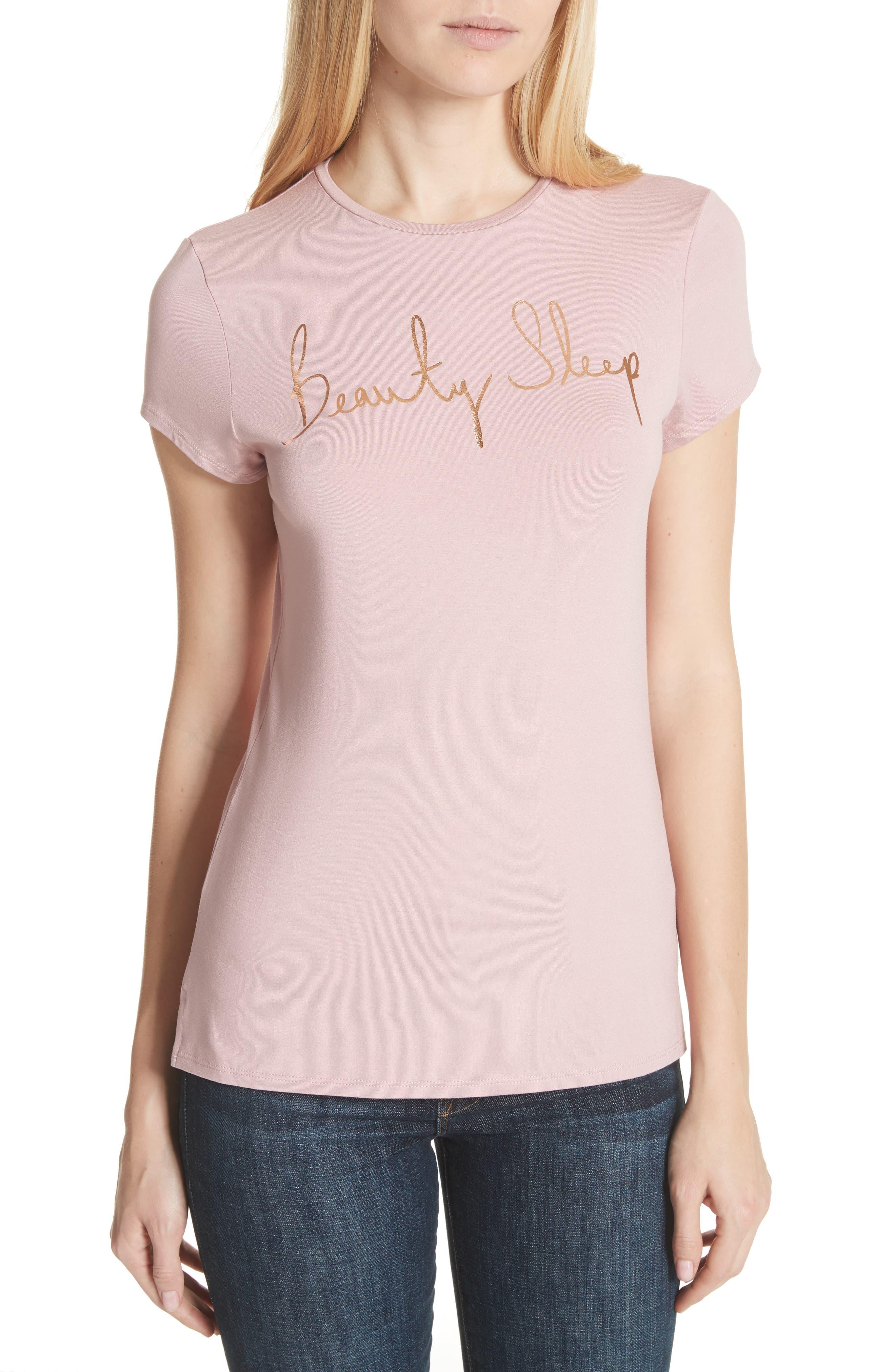 Beauty Sleep Tee,                             Main thumbnail 1, color,                             Dusky Pink