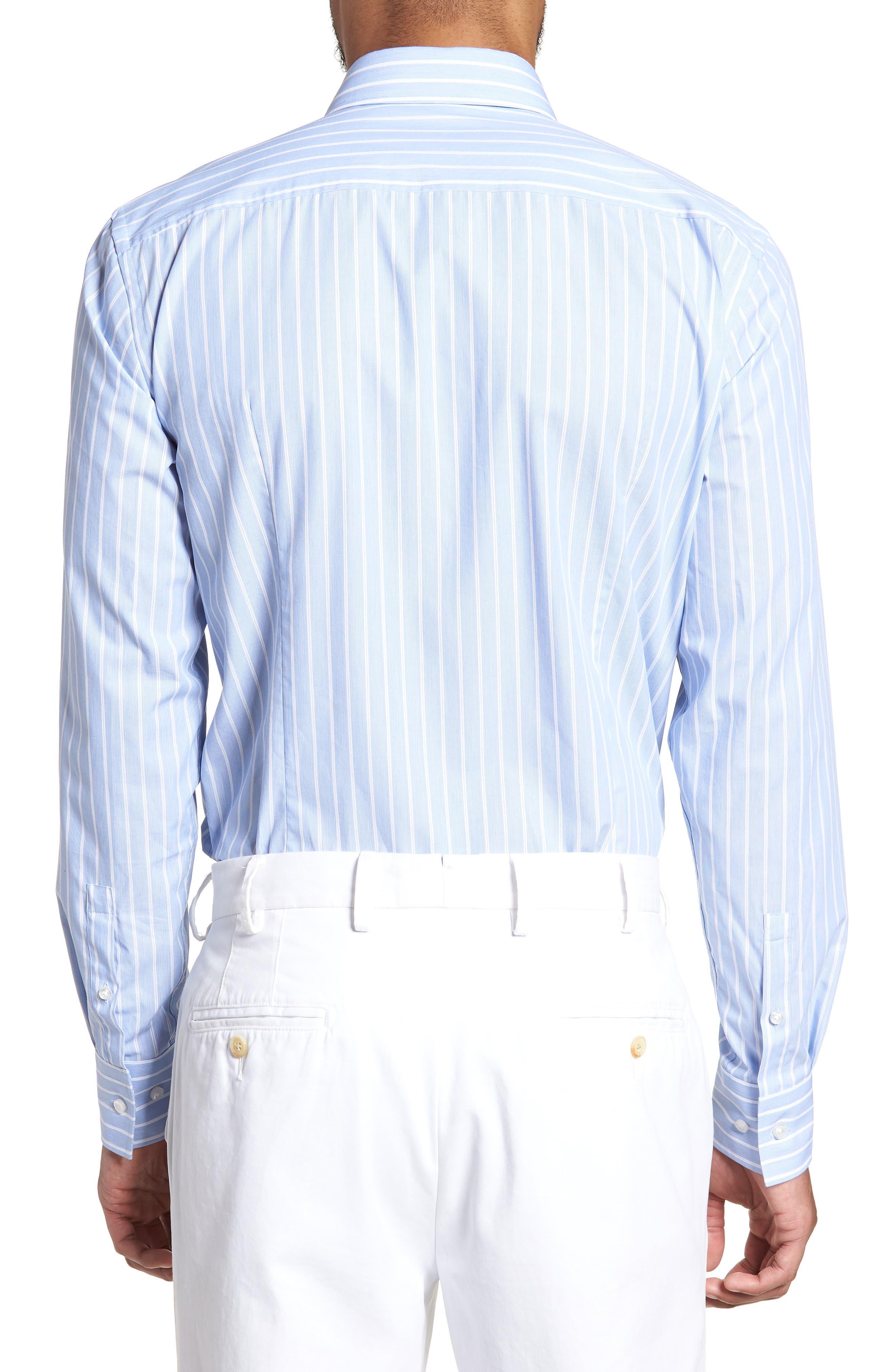 Jenno Slim Fit Stripe Dress Shirt,                             Alternate thumbnail 3, color,                             Blue