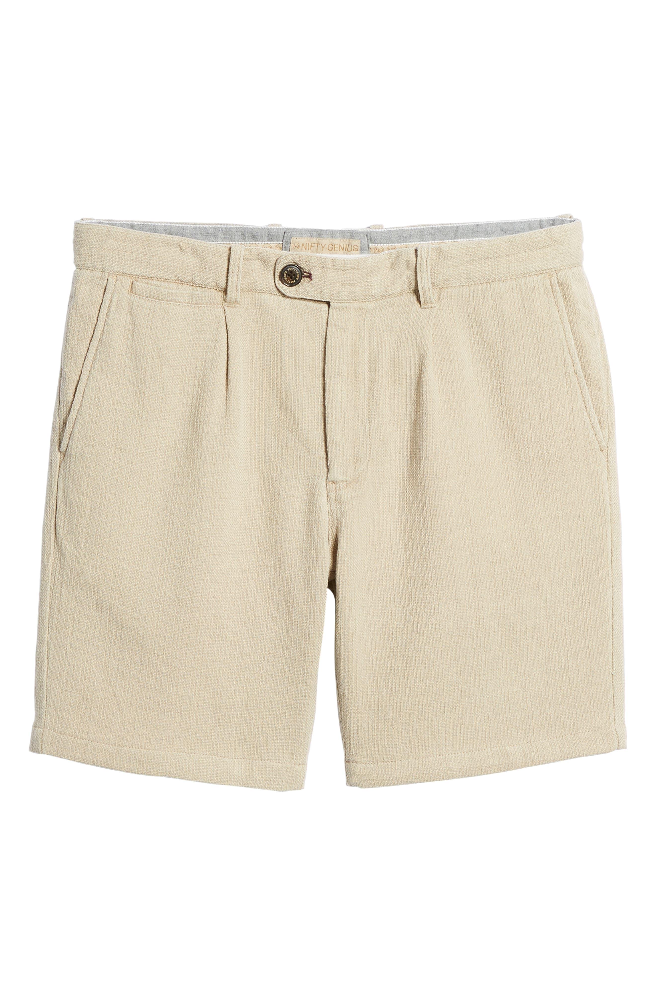 Thomas Regular Fit Pleated Shorts,                             Alternate thumbnail 6, color,                             Tan
