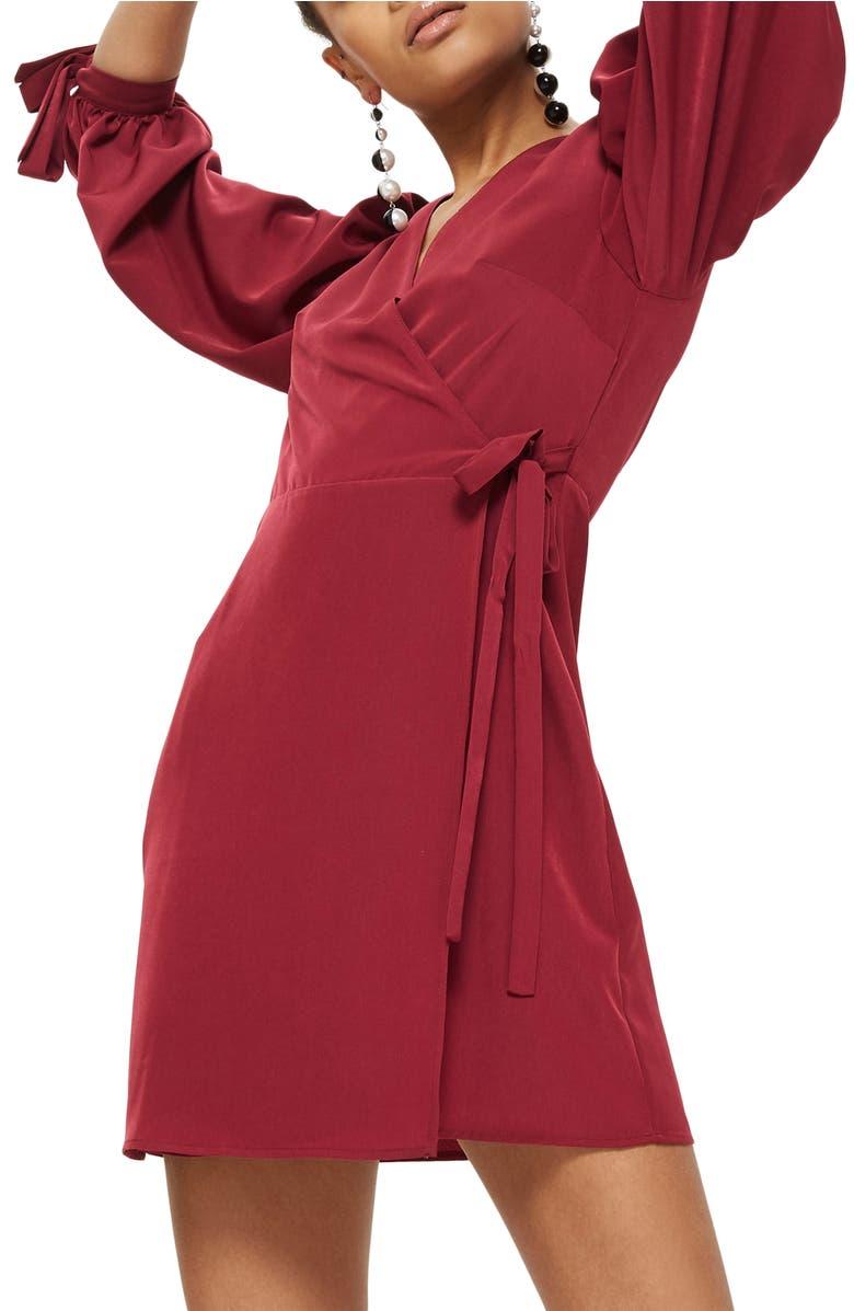 Tie Cuff Wrap Minidress, Main, color, Burgundy