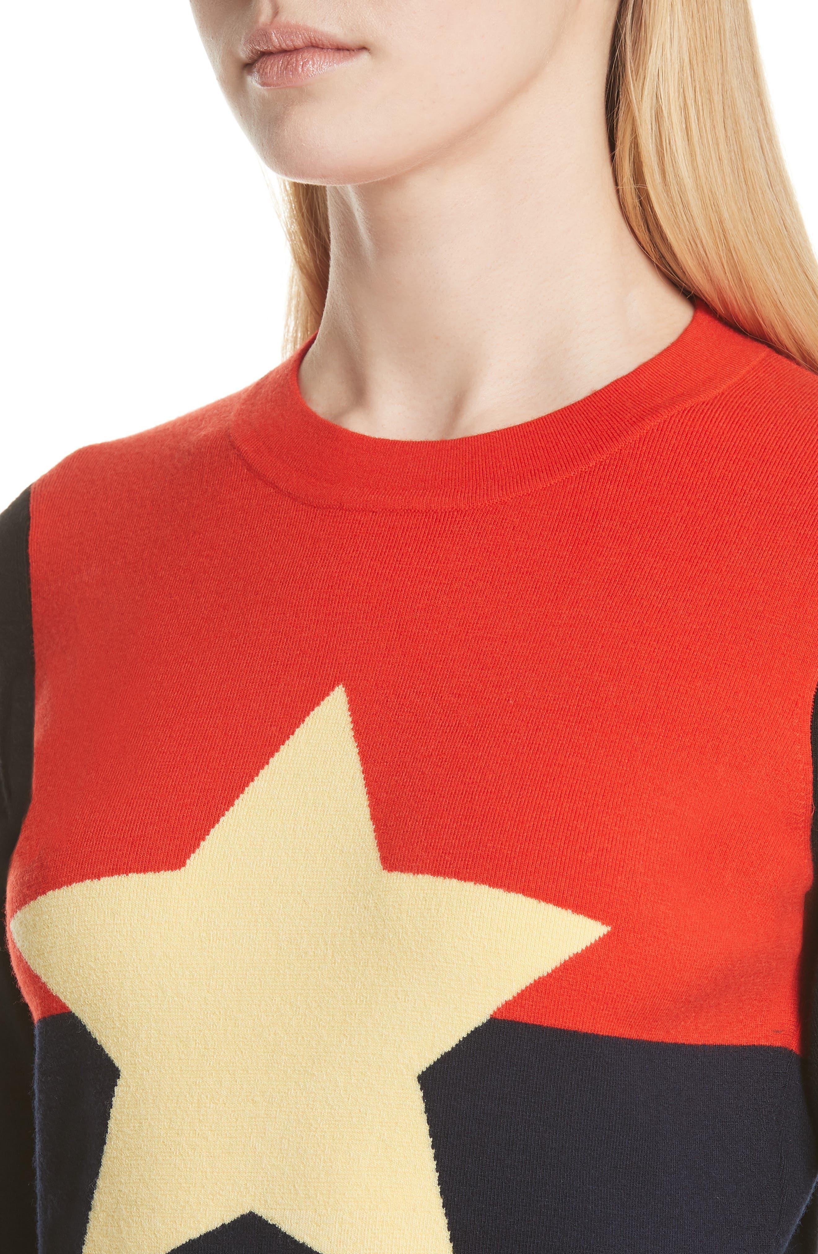 Diane von Furstenberg Star Sweater,                             Alternate thumbnail 4, color,                             Poppy Multi