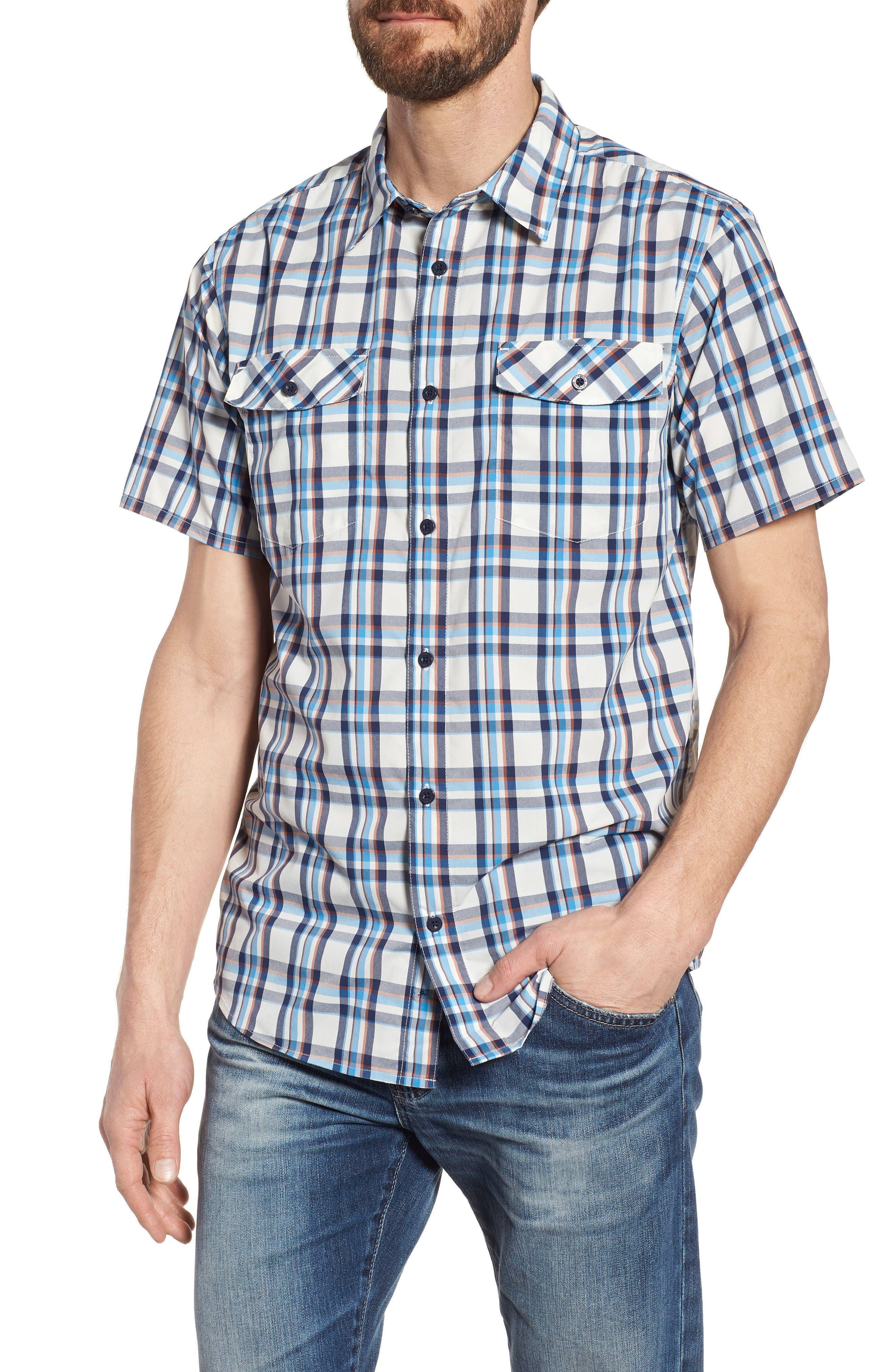 High Moss Regular Fit Short Sleeve Sport Shirt,                             Main thumbnail 1, color,                             Anchor/ Birch White