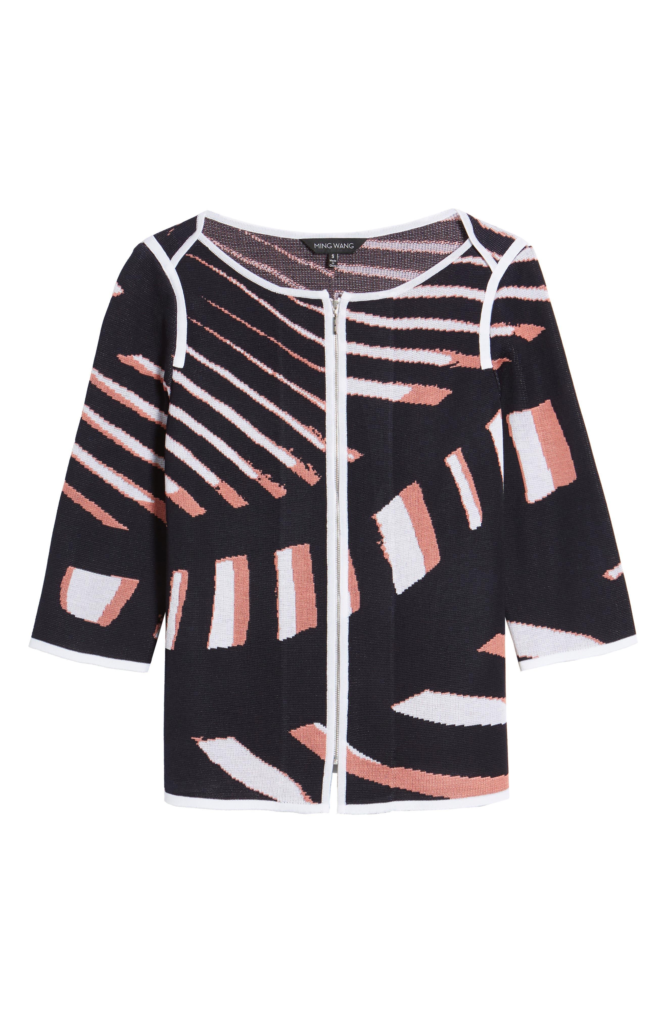 Zip Front Knit Jacket,                             Alternate thumbnail 6, color,                             Navy/ Daylily/ White
