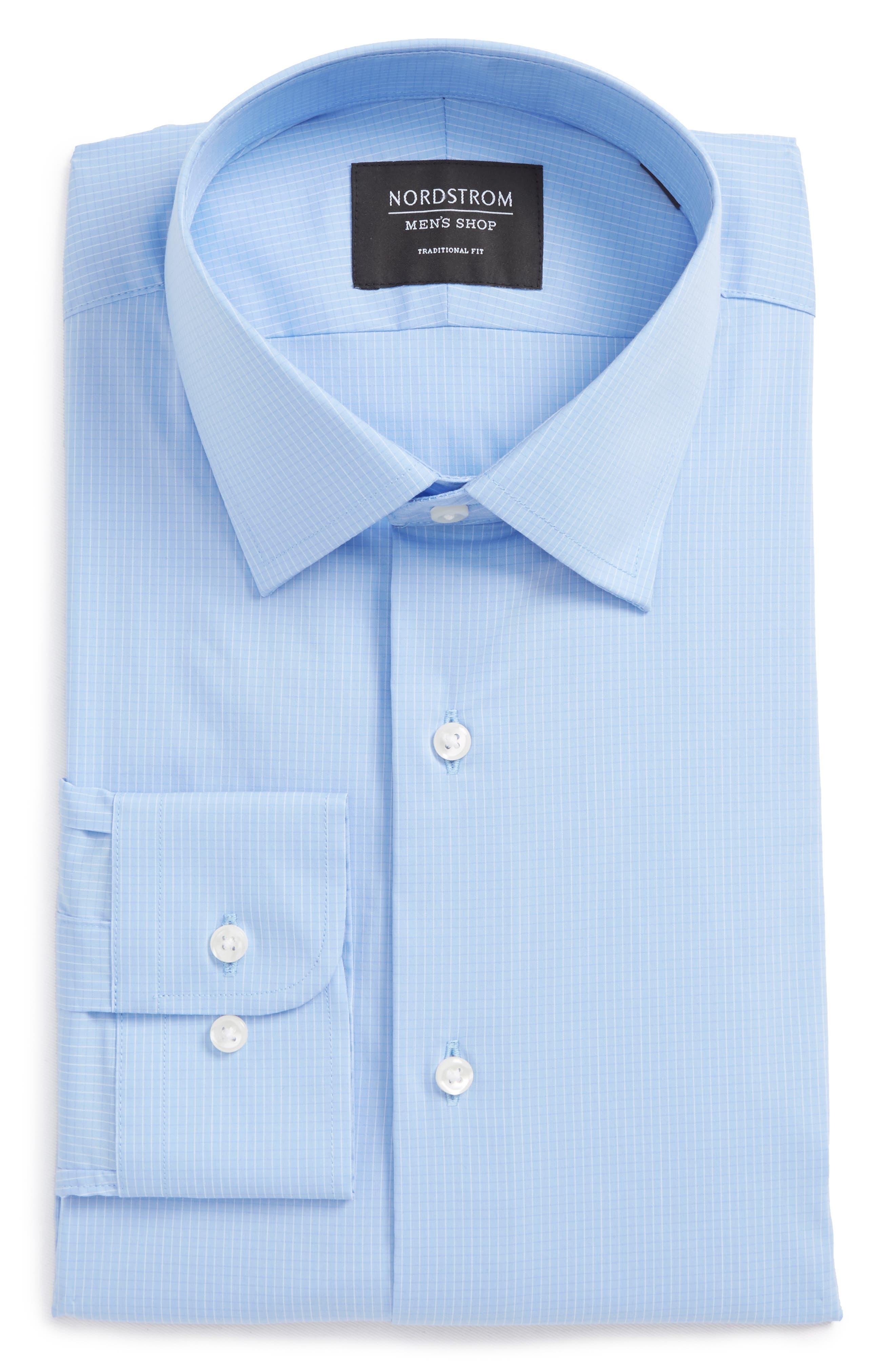 Traditional Fit Stretch Check Dress Shirt,                             Alternate thumbnail 6, color,                             Blue Vista