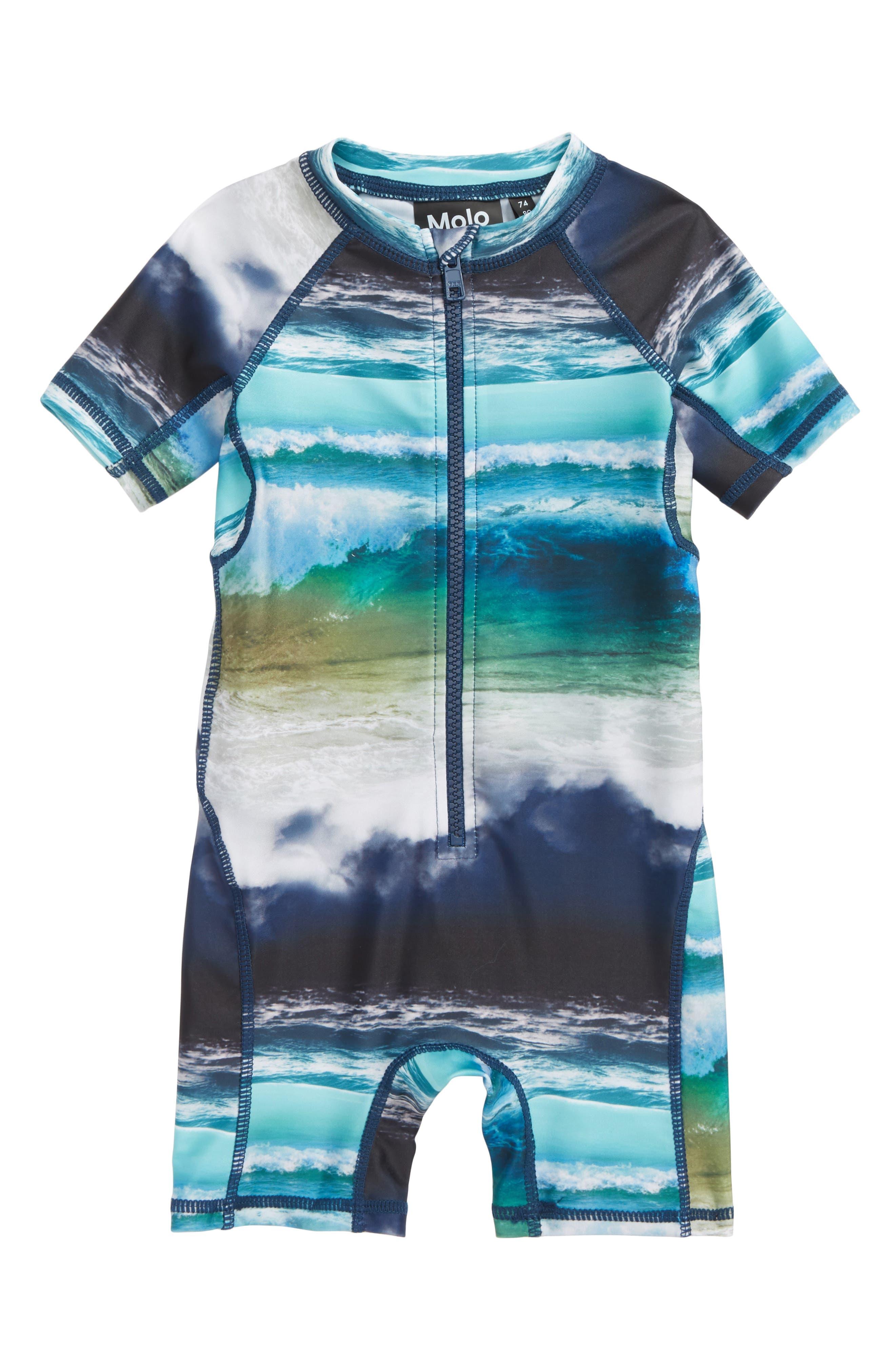 Neka One-Piece Rashguard Swimsuit,                         Main,                         color, Ocean Stripe