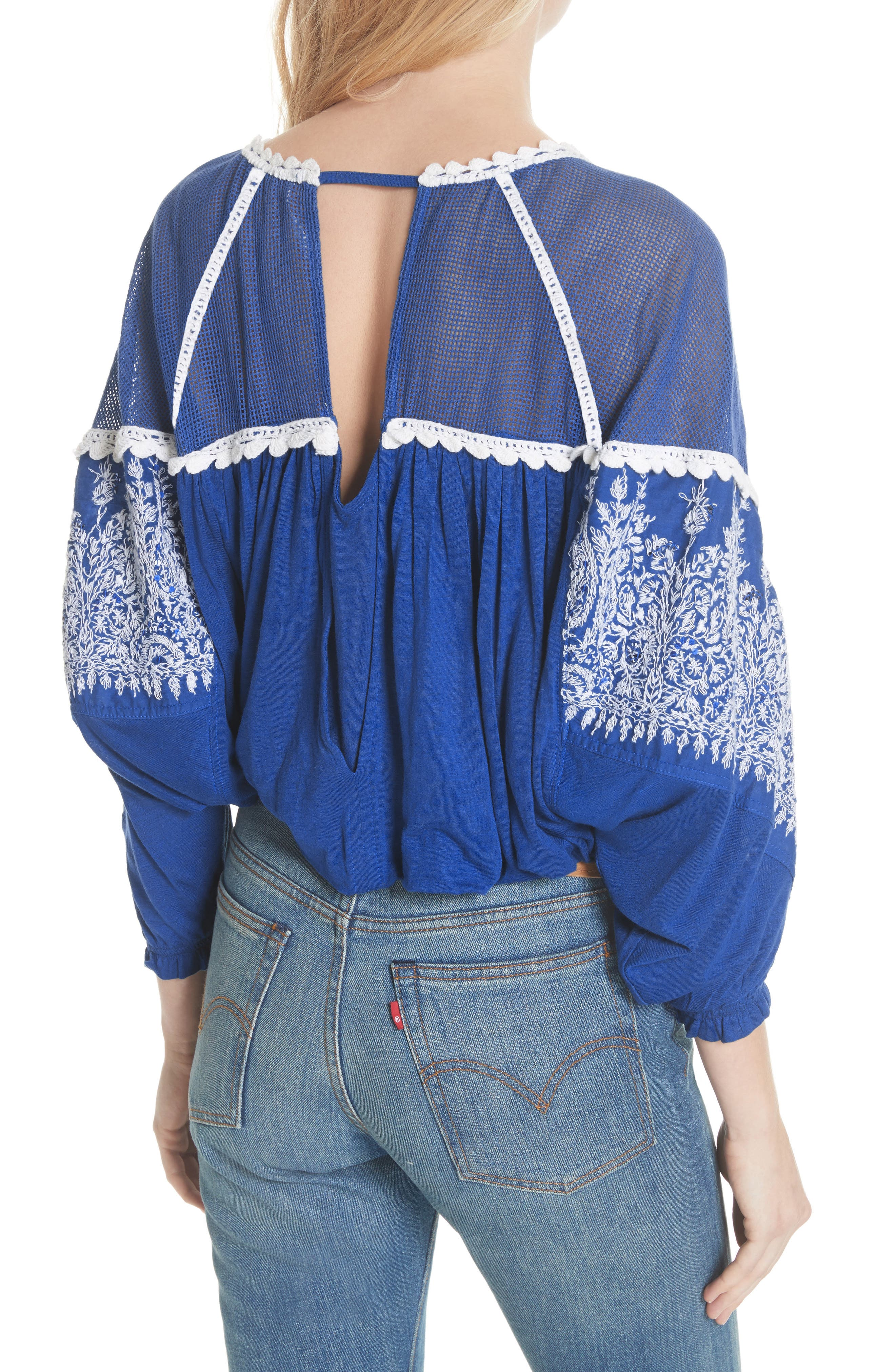 Carly Embroidered Blouse,                             Alternate thumbnail 2, color,                             Blue