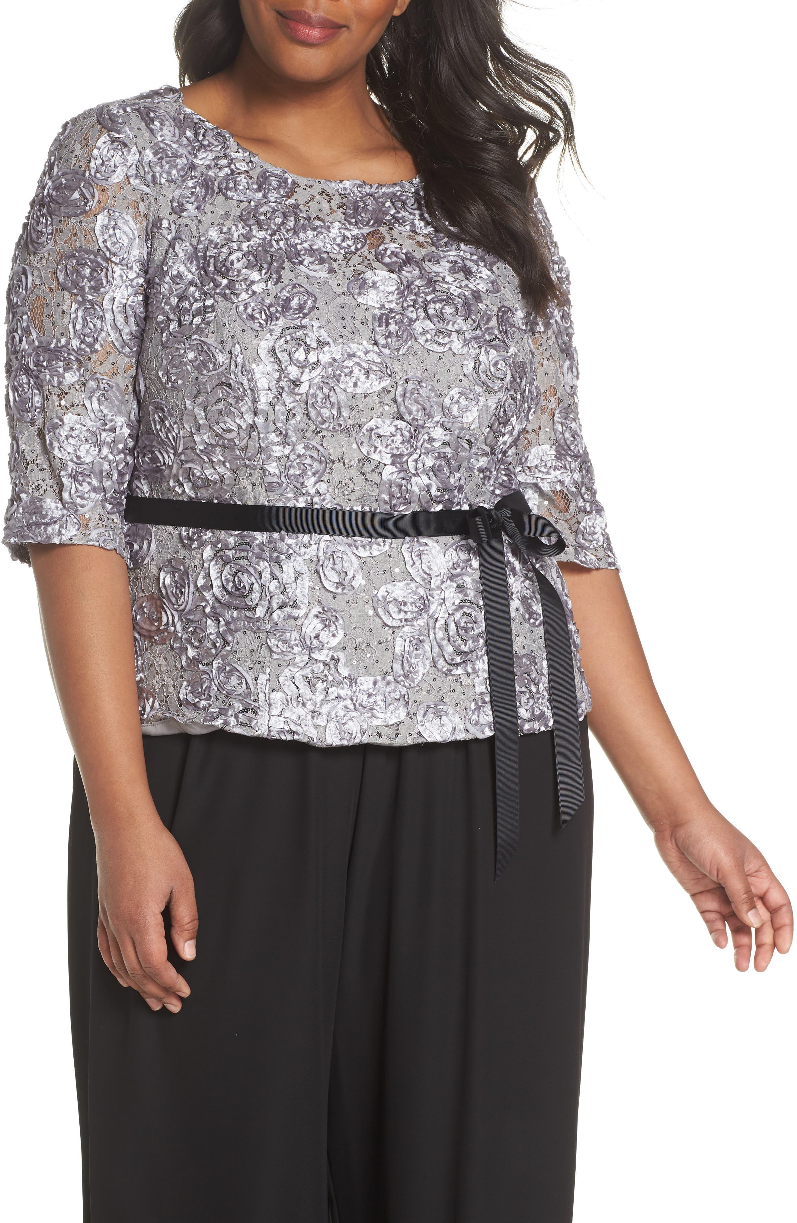 Alex Evenings Rosette Lace Blouse (Plus Size)