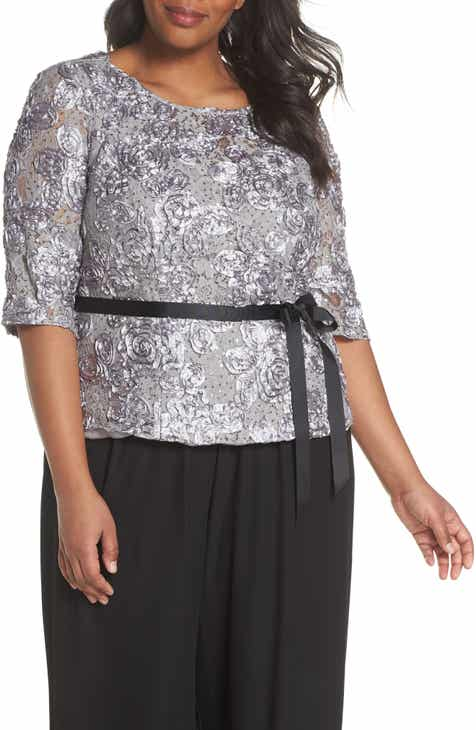 Alex Evenings Rosette Lace Blouse (Plus Size)