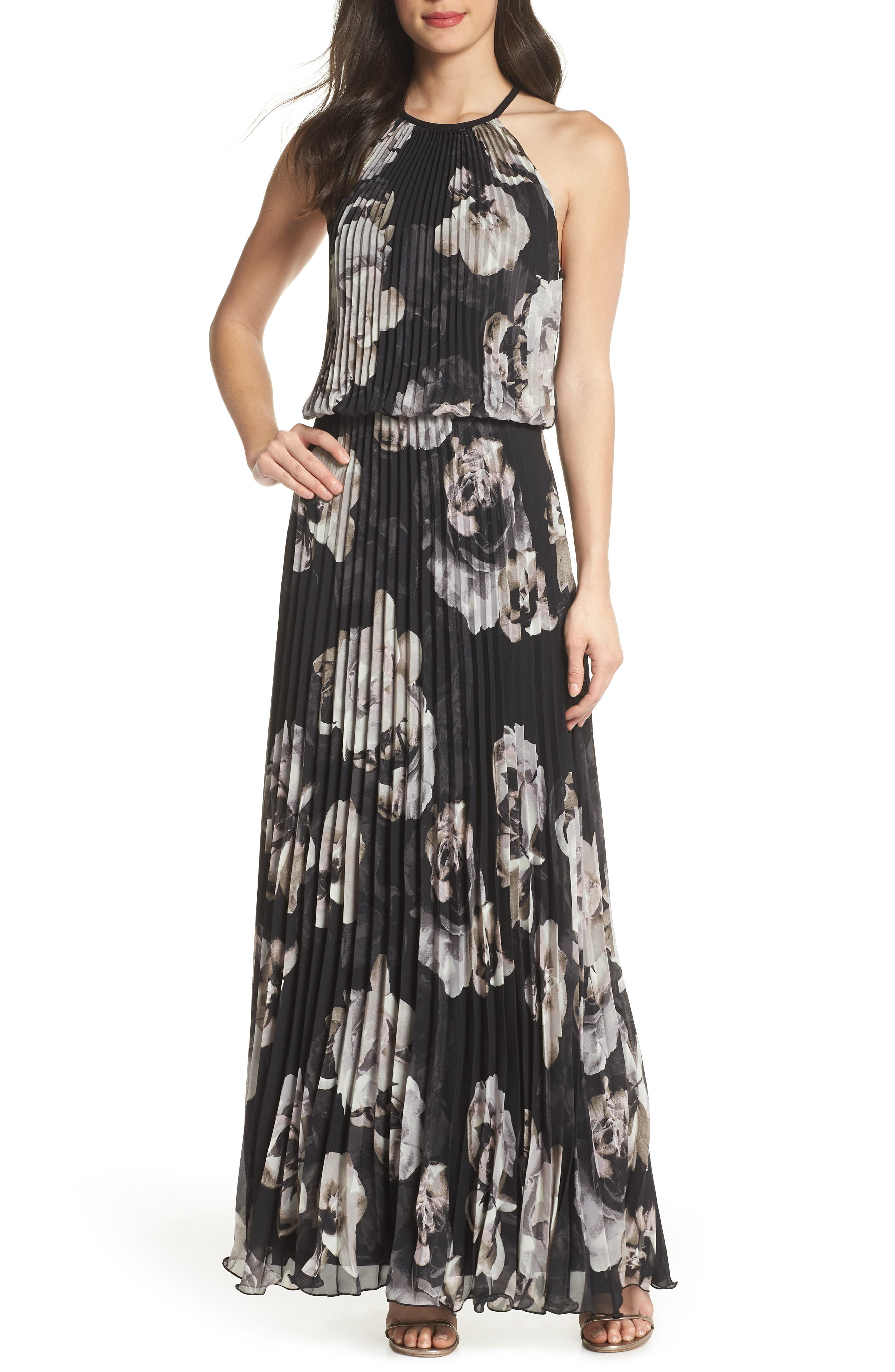 Pleated Halter Neck Chiffon Gown,                             Main thumbnail 1, color,                             Black/ White
