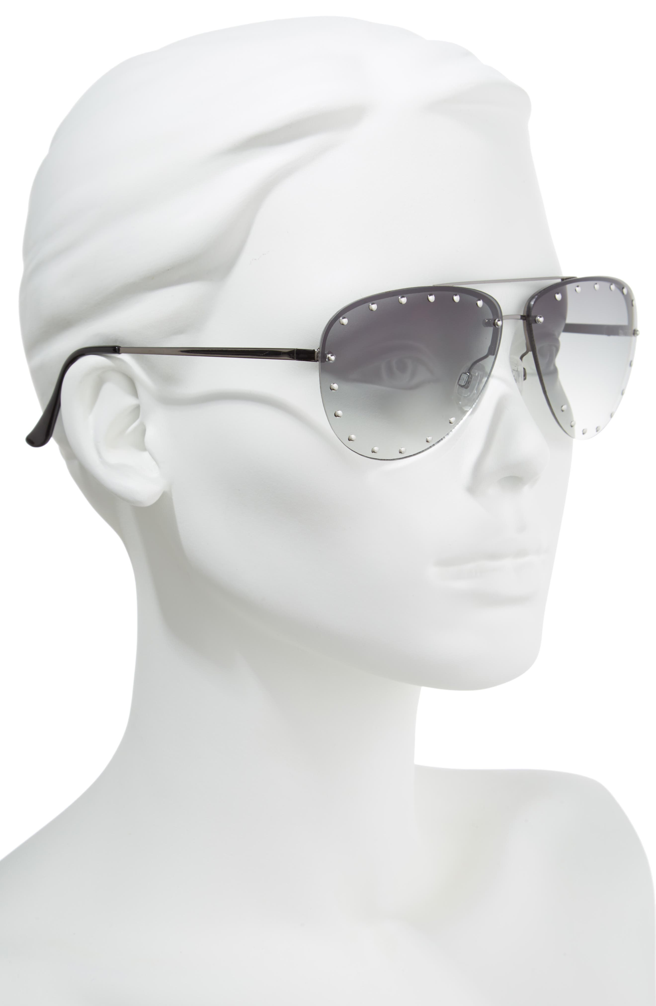 63mm Studded Aviator Sunglasses,                             Alternate thumbnail 2, color,                             Silver/ Green