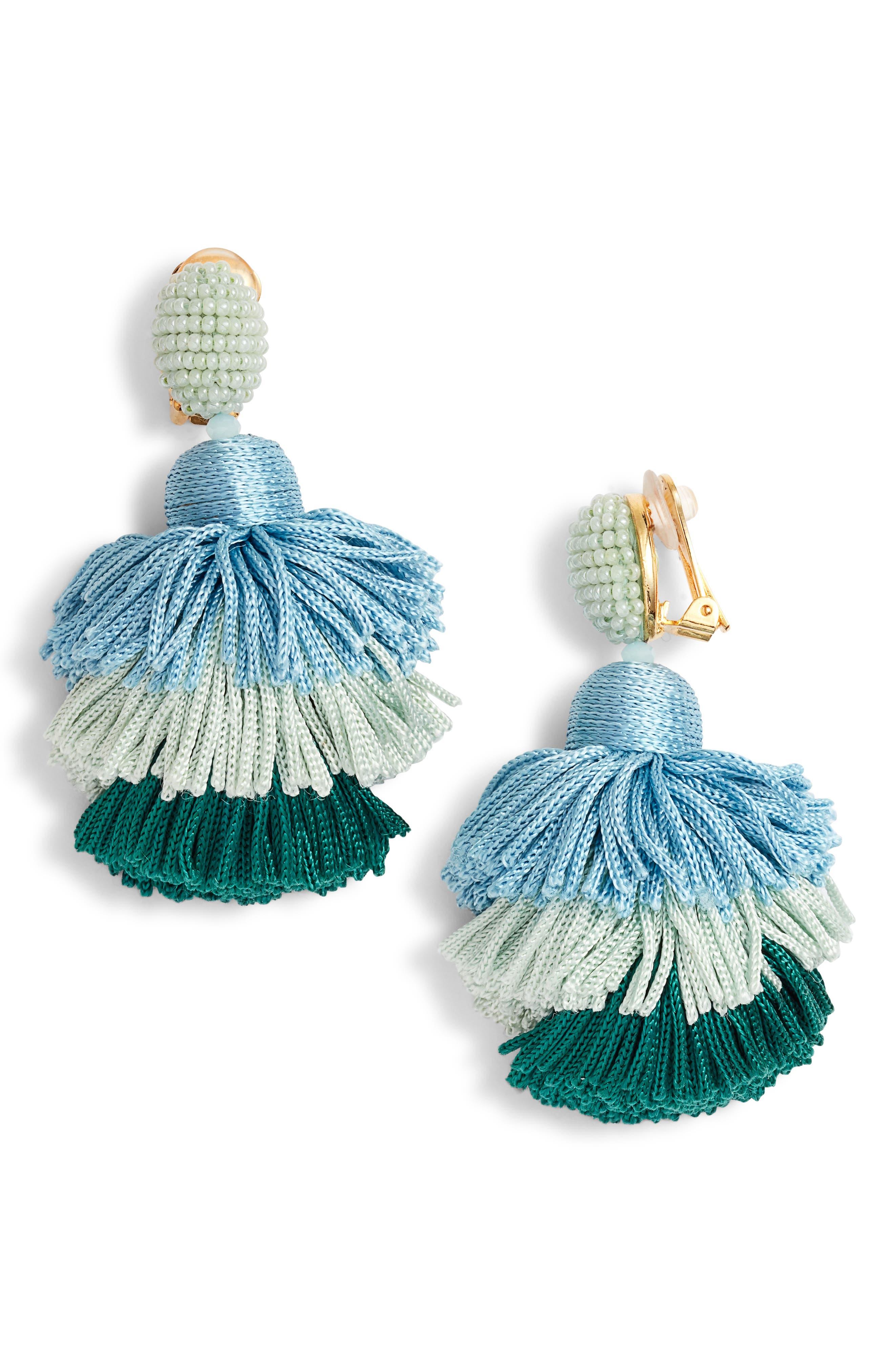 Tiered Tassel Drop Earrings,                         Main,                         color, Celadon