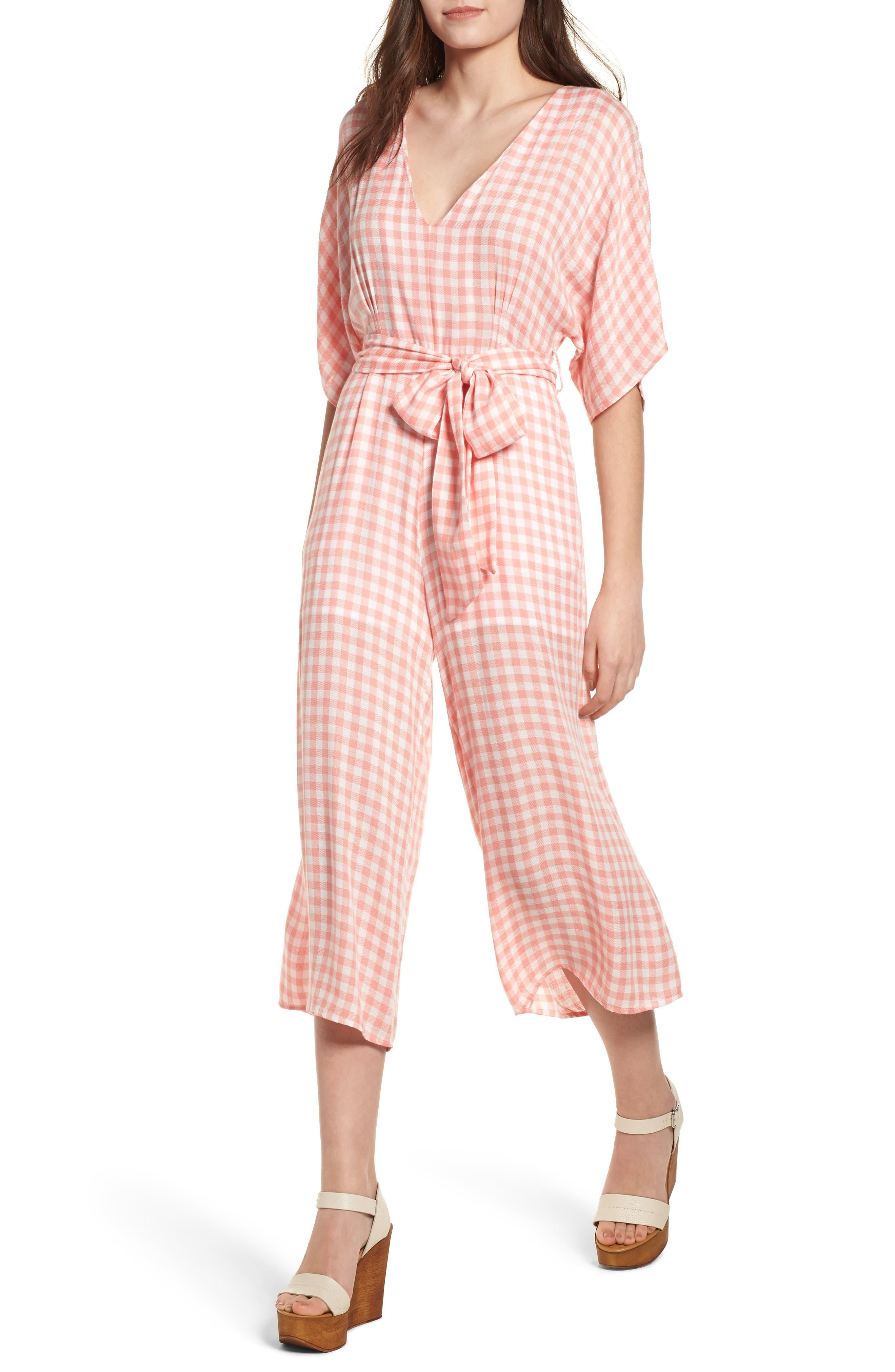Brunch Gingham Jumpsuit,                             Main thumbnail 1, color,                             Grapefruit Pink
